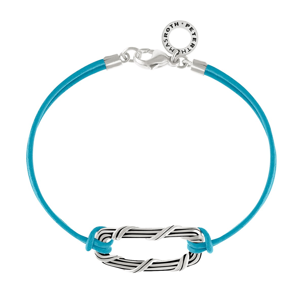 Rectangle Link Bracelet in sterling silver and turquoise blue leather