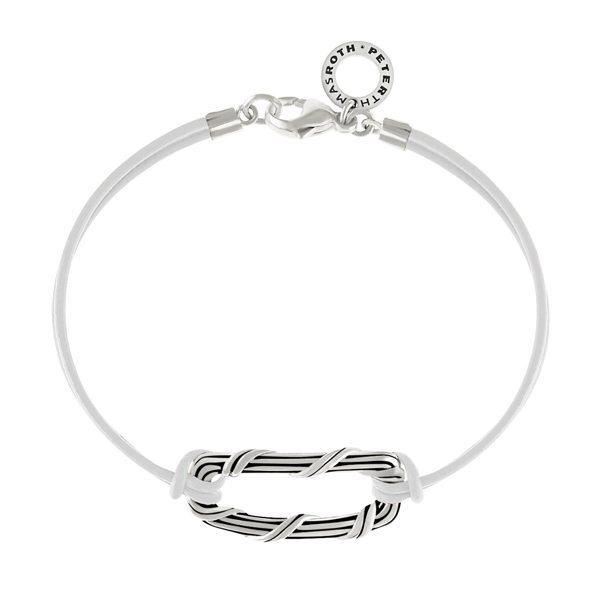 Rectangle Link Bracelet in sterling silver and white leather