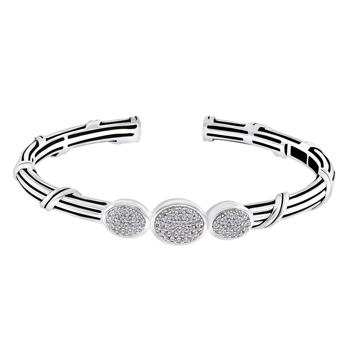 Signature Classic 3 Oval Pave Cuff with white topaz in sterling silver