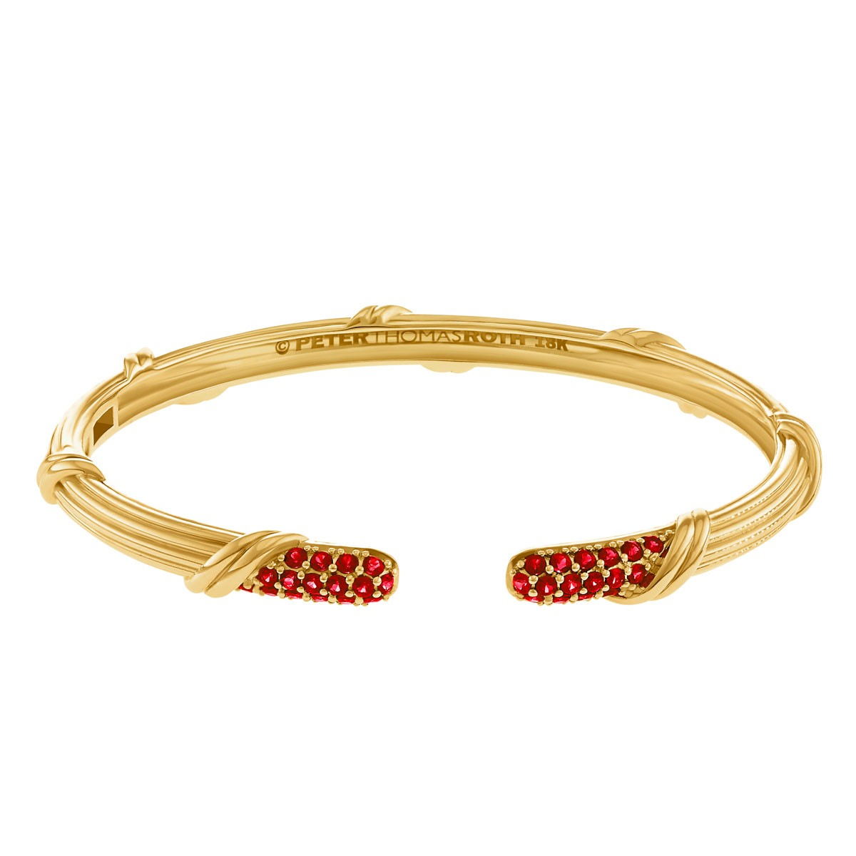 Heritage Pave Cuff with garnet in 18K yellow gold