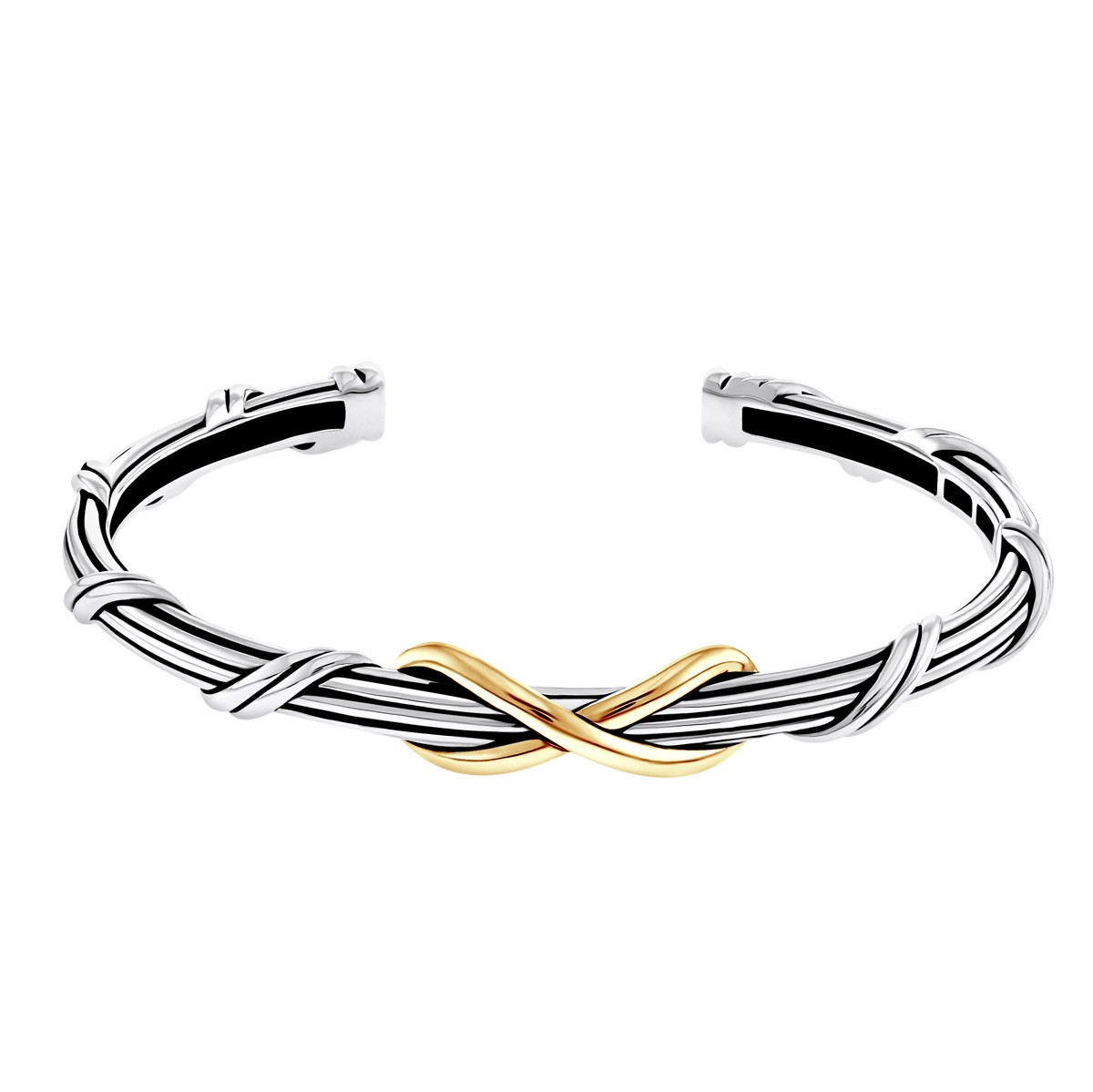 Signature Classic Infinity Cuff in two tone sterling silver