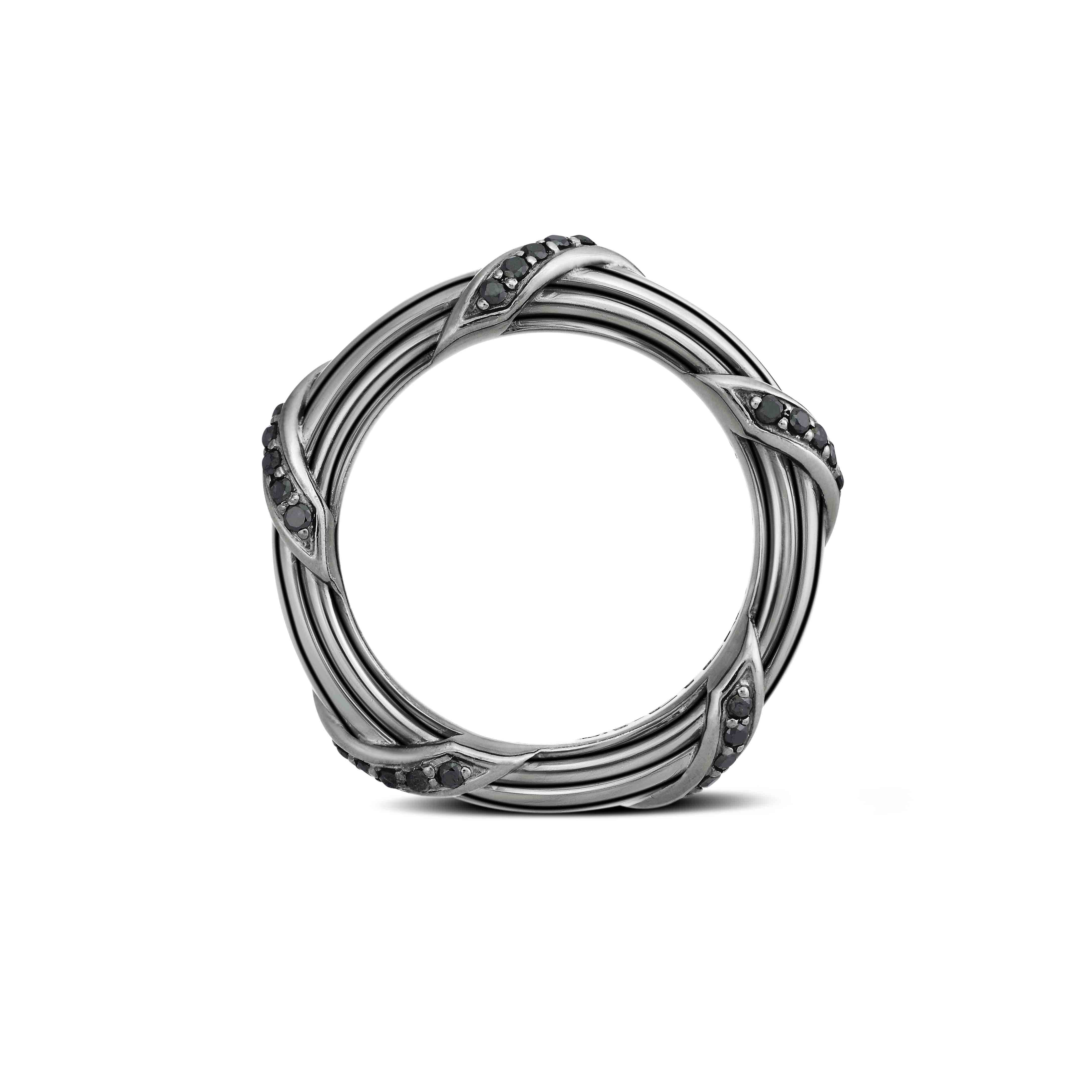 Signature Diamond Band Ring in ruthenium sterling silver 4 mm
