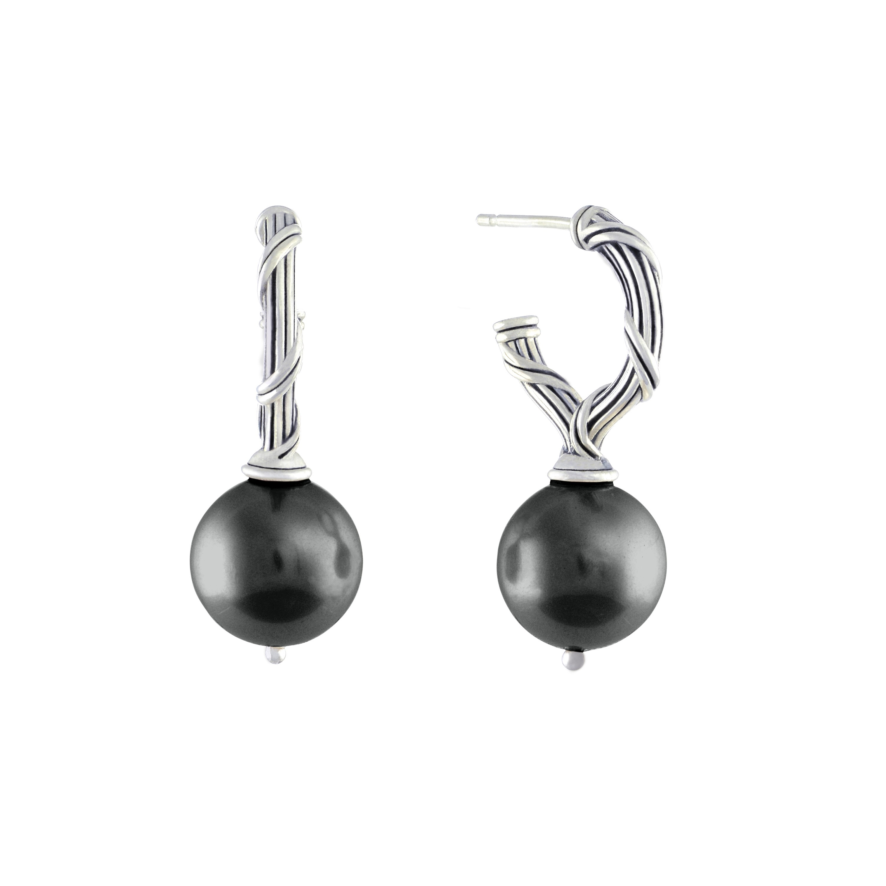 Bead Earrings with black sea shell pearls in sterling silver