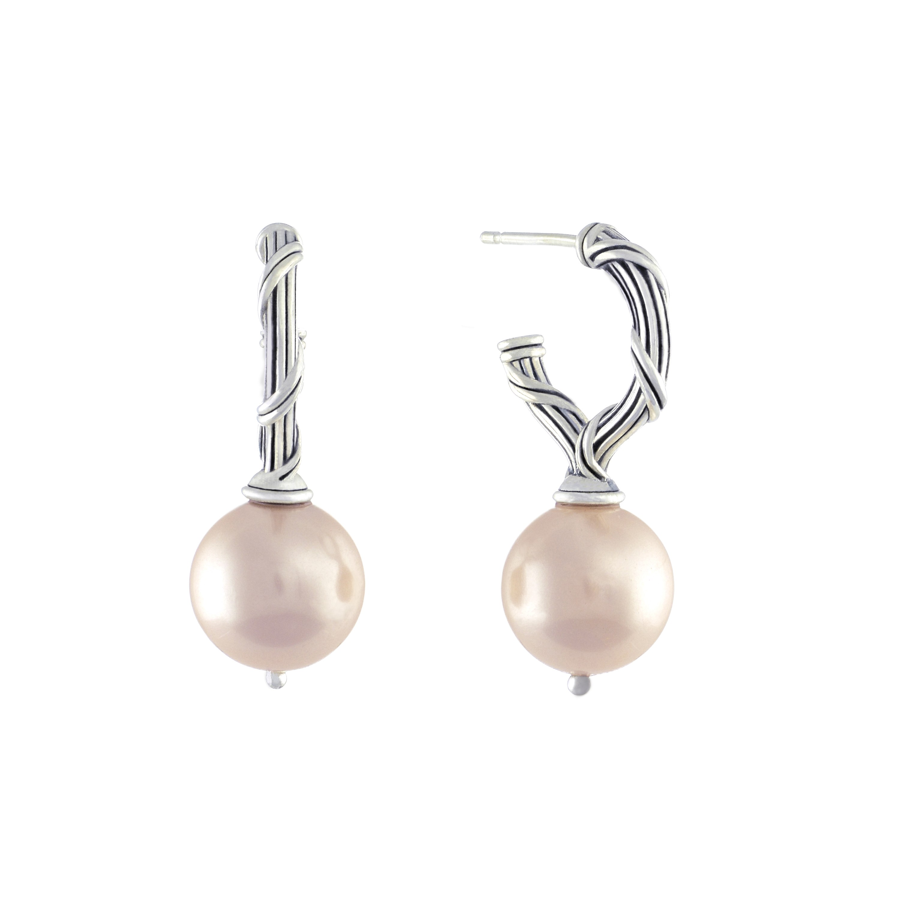 Bead Earrings with pink sea shell pearls in sterling silver