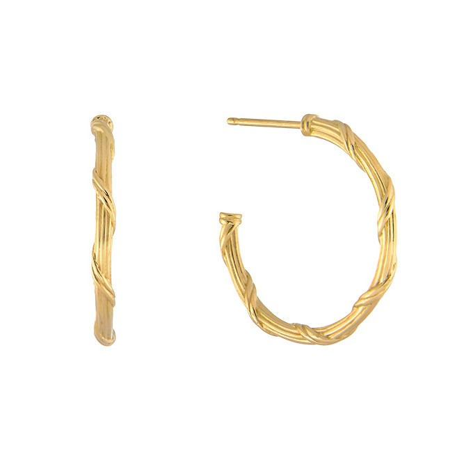 Heritage Hoop Earrings in 18K yellow gold .75""