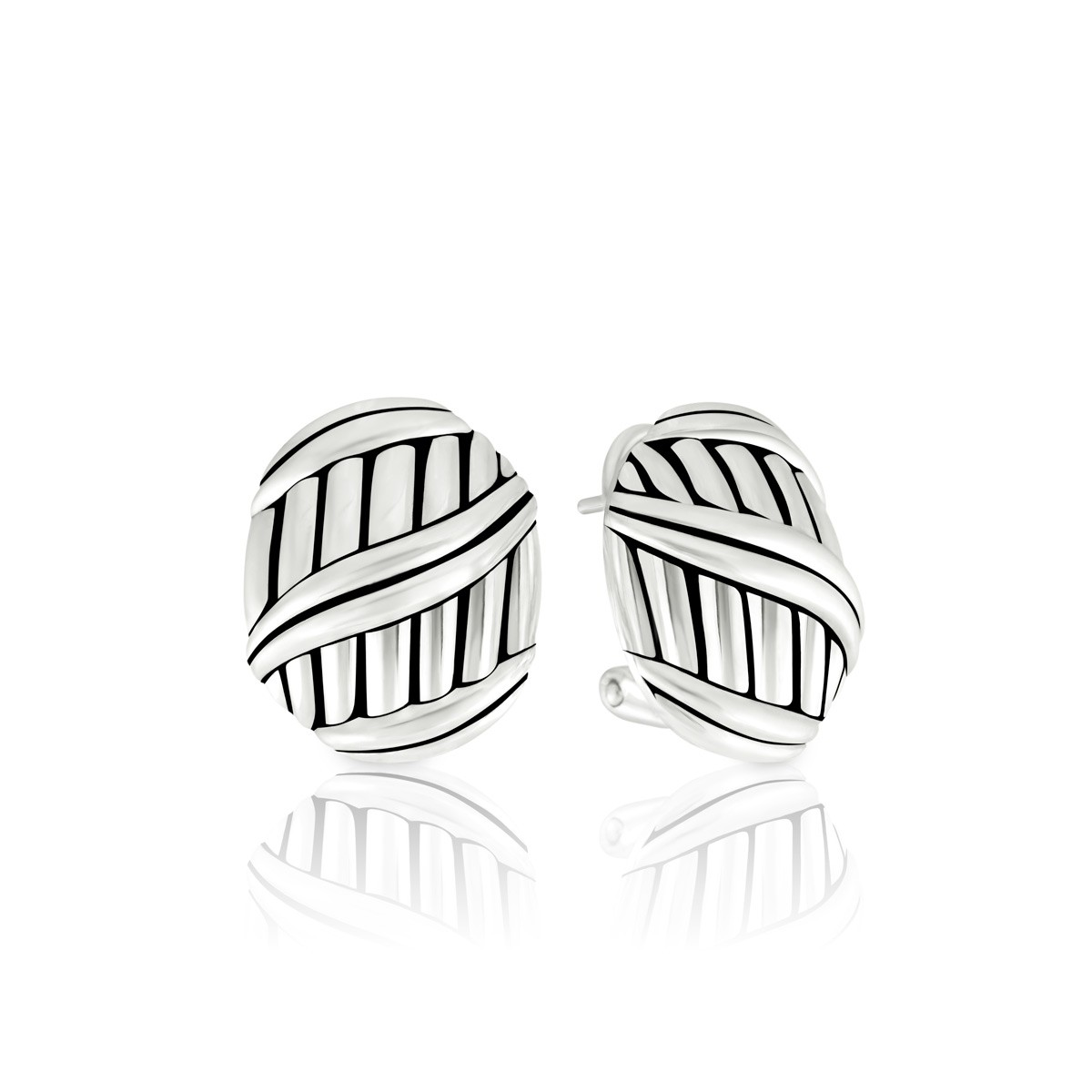 Signature Classic Button Omega Back Earrings in sterling silver