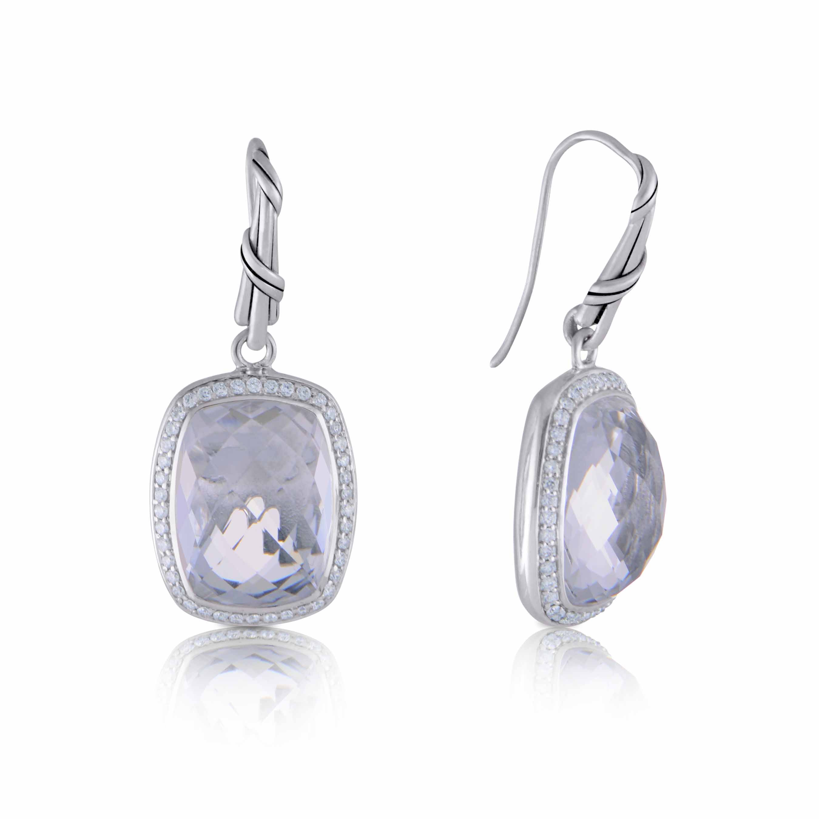 Fantasies Rock Crystal Halo Earrings in diamonds and sterling silver