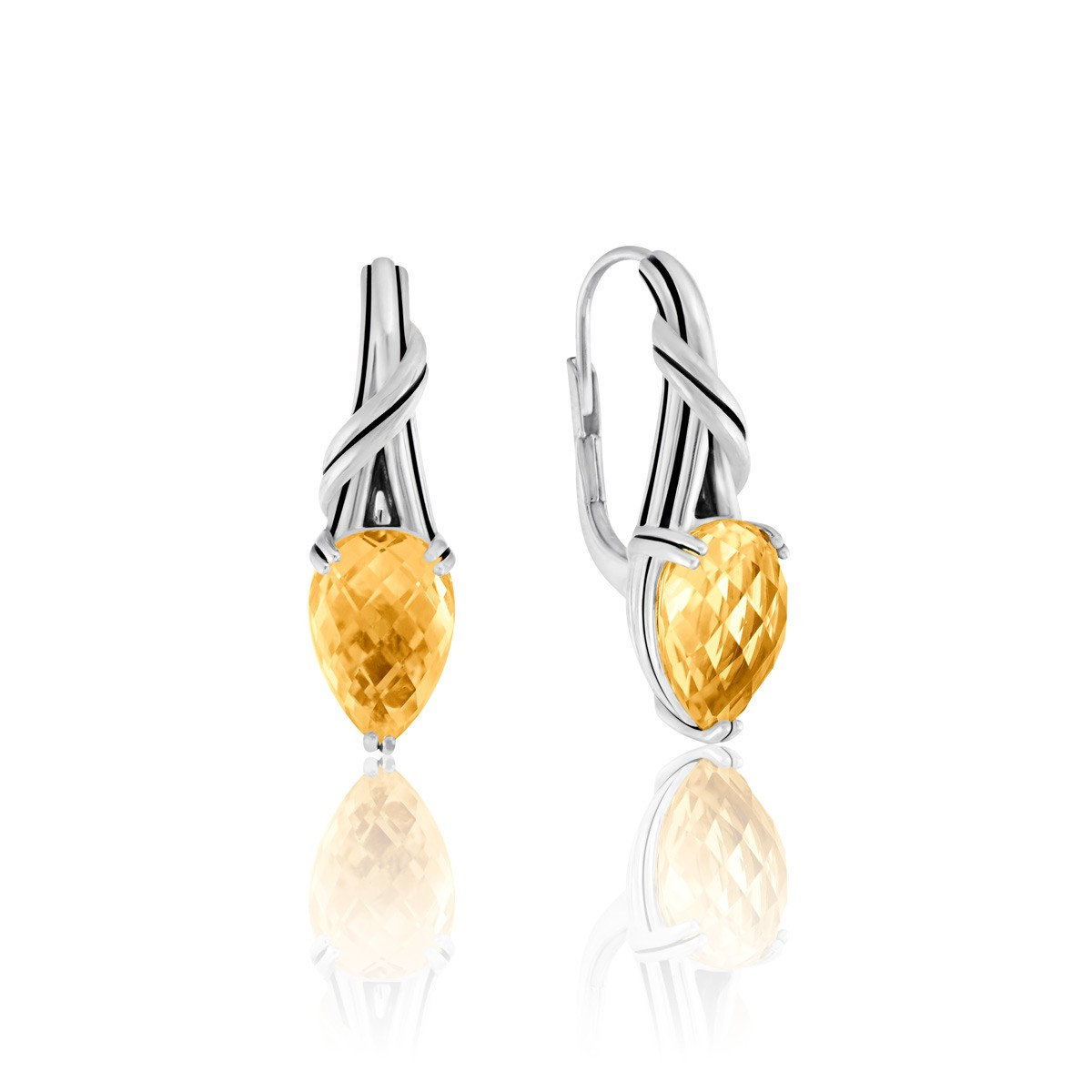 Fantasies Citrine Pear Drop Earrings in sterling silver