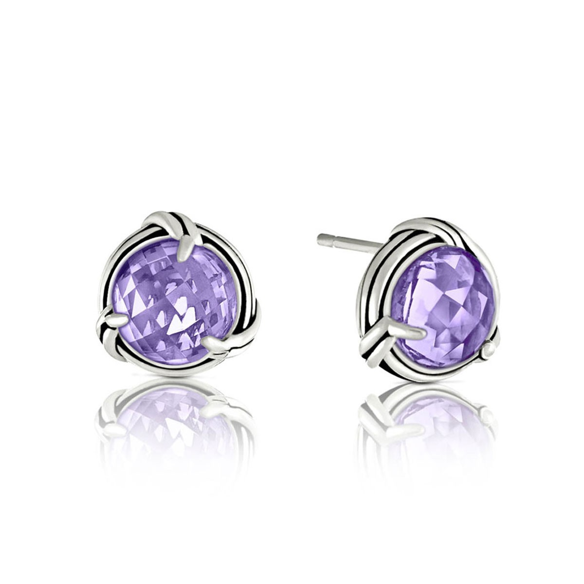 Peter Thomas Roth Ribbon And Reed Lavender Amethyst Stud Earrings In Sterling Silver