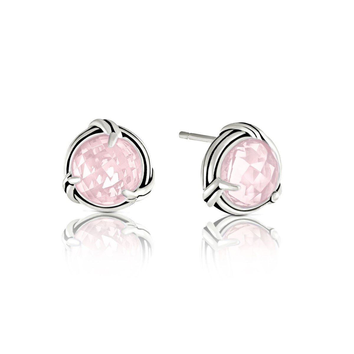 Peter Thomas Roth Ribbon And Reed Rose Quartz Stud Earrings In Sterling Silver