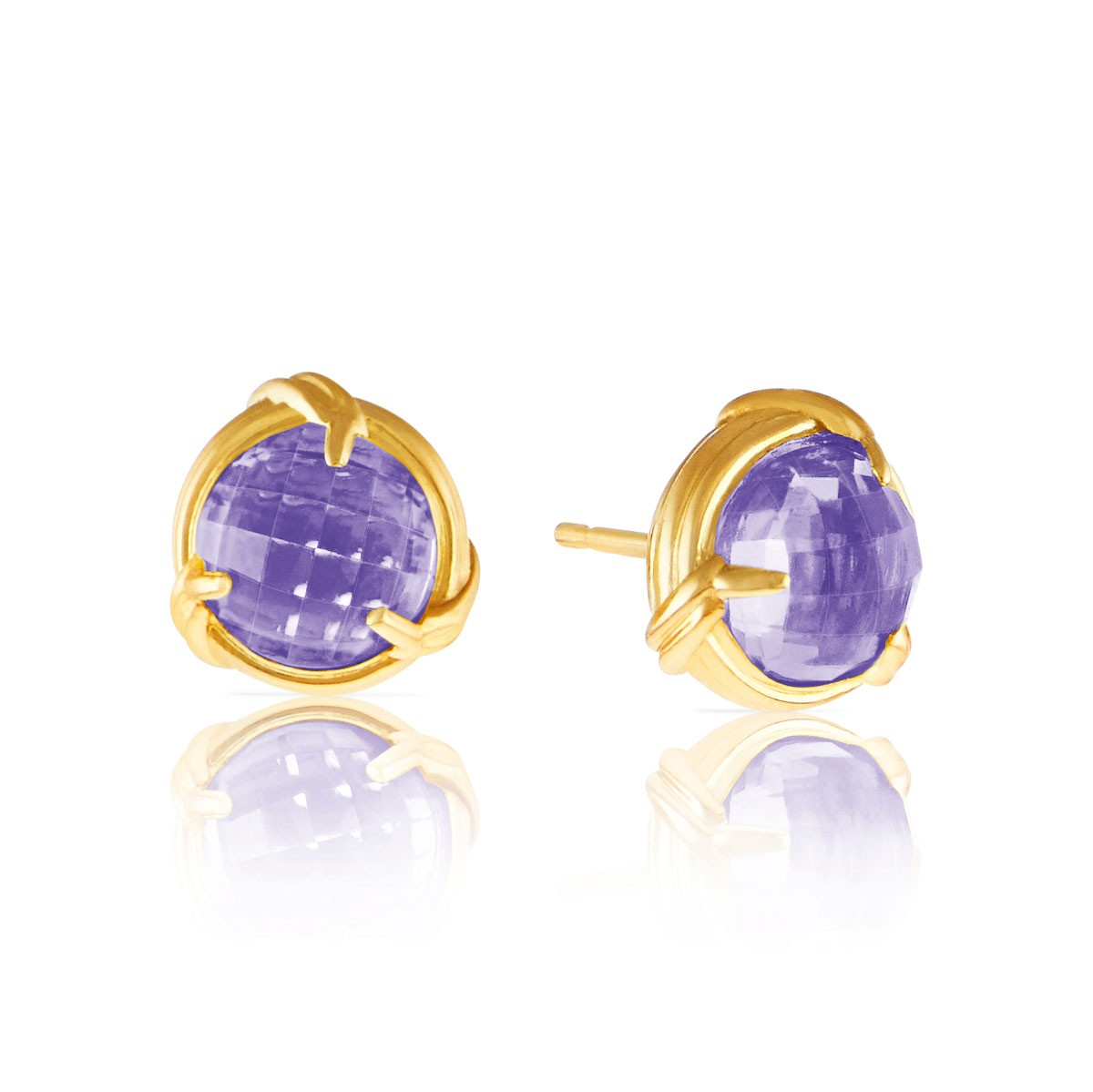 Fantasies Amethyst Stud Earrings in 18K yellow gold