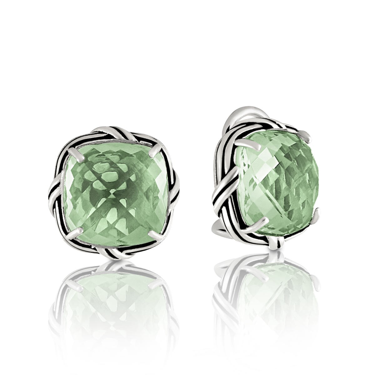 Prasiolite Clip Earrings In Sterling Silver