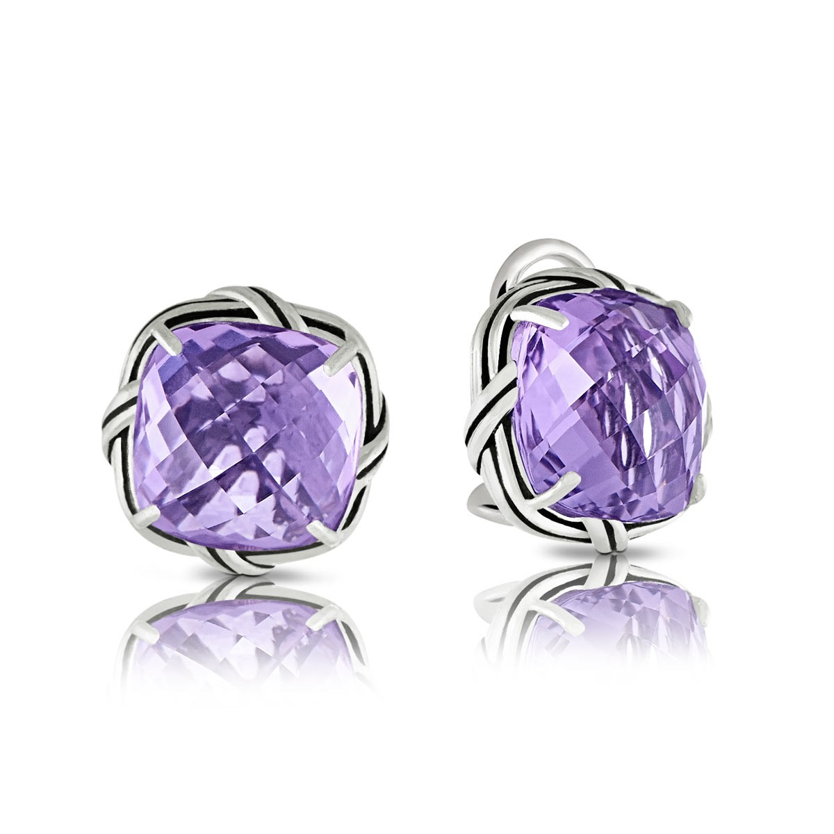 Peter Thomas Roth Ribbon And Reed Lavender Amethyst Clip Earrings In Sterling Silver