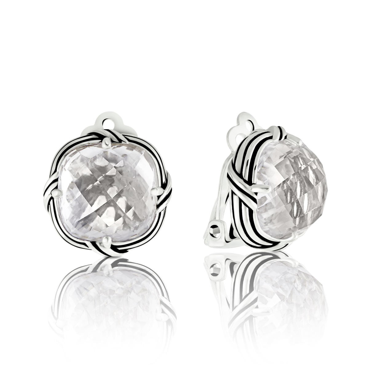 Peter Thomas Roth Ribbon And Reed Rock Crystal Clip Earrings In Sterling Silver