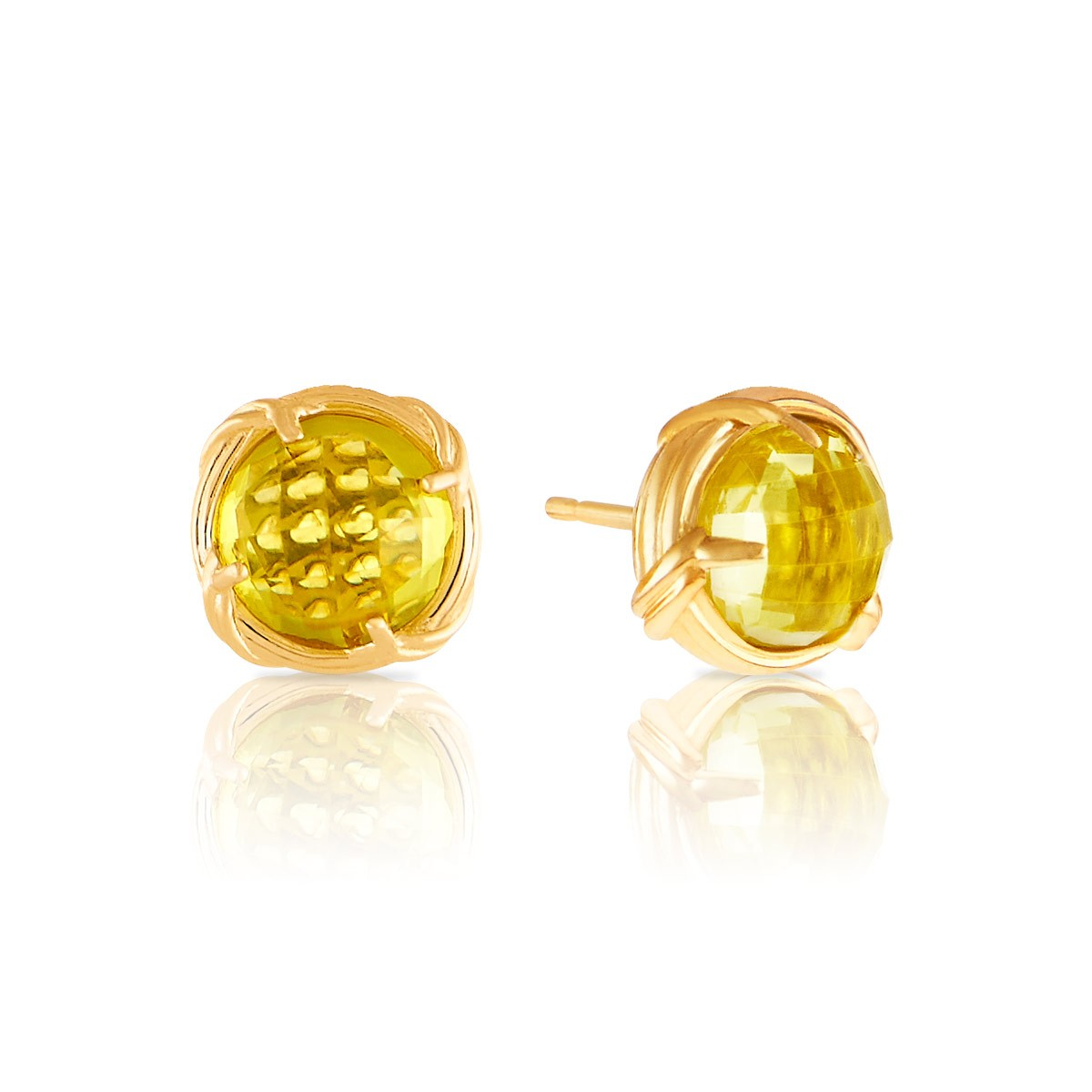 Peter Thomas Roth Ribbon And Reed Lemon Citrine Stud Earrings In 18k Yellow Gold 10mm