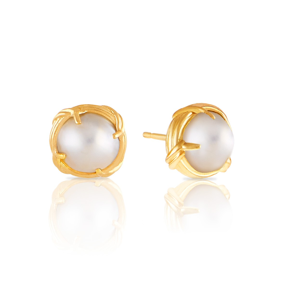 Peter Thomas Roth Ribbon And Reed Heritage Mabe Pearl Stud Earrings In 18k Yellow Gold 10mm
