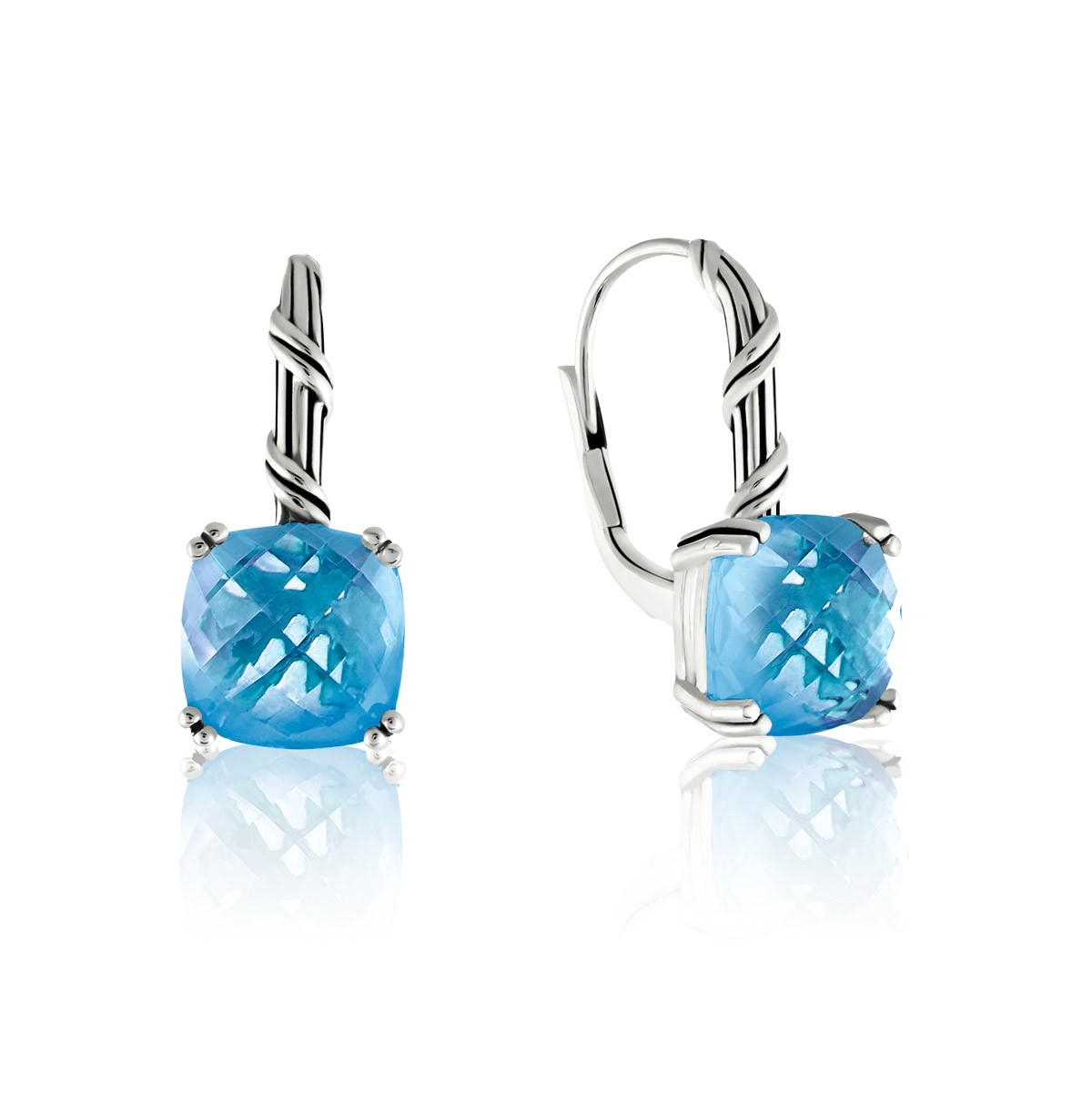 Fantasies Blue Topaz Drop Earrings in sterling silver