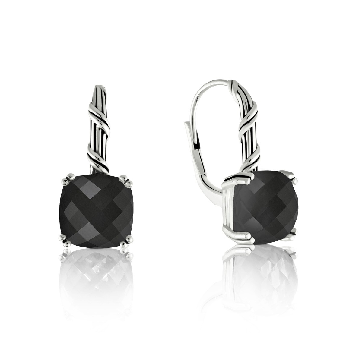 Fantasies Black Onyx Drop Earrings in sterling silver