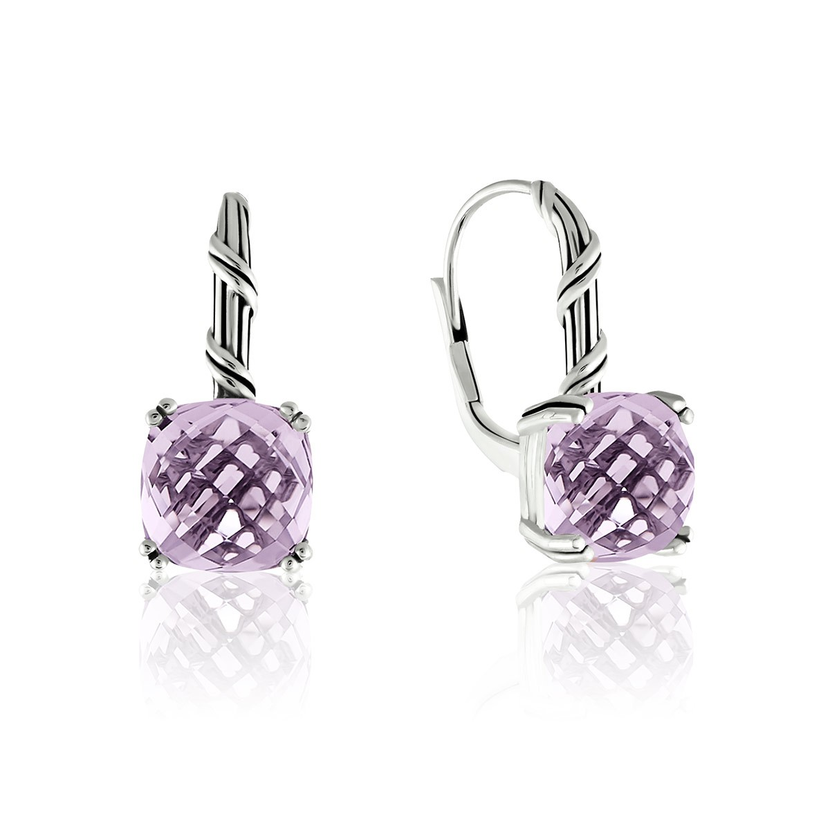 Fantasies Lavender Amethyst Drop Earrings in sterling silver