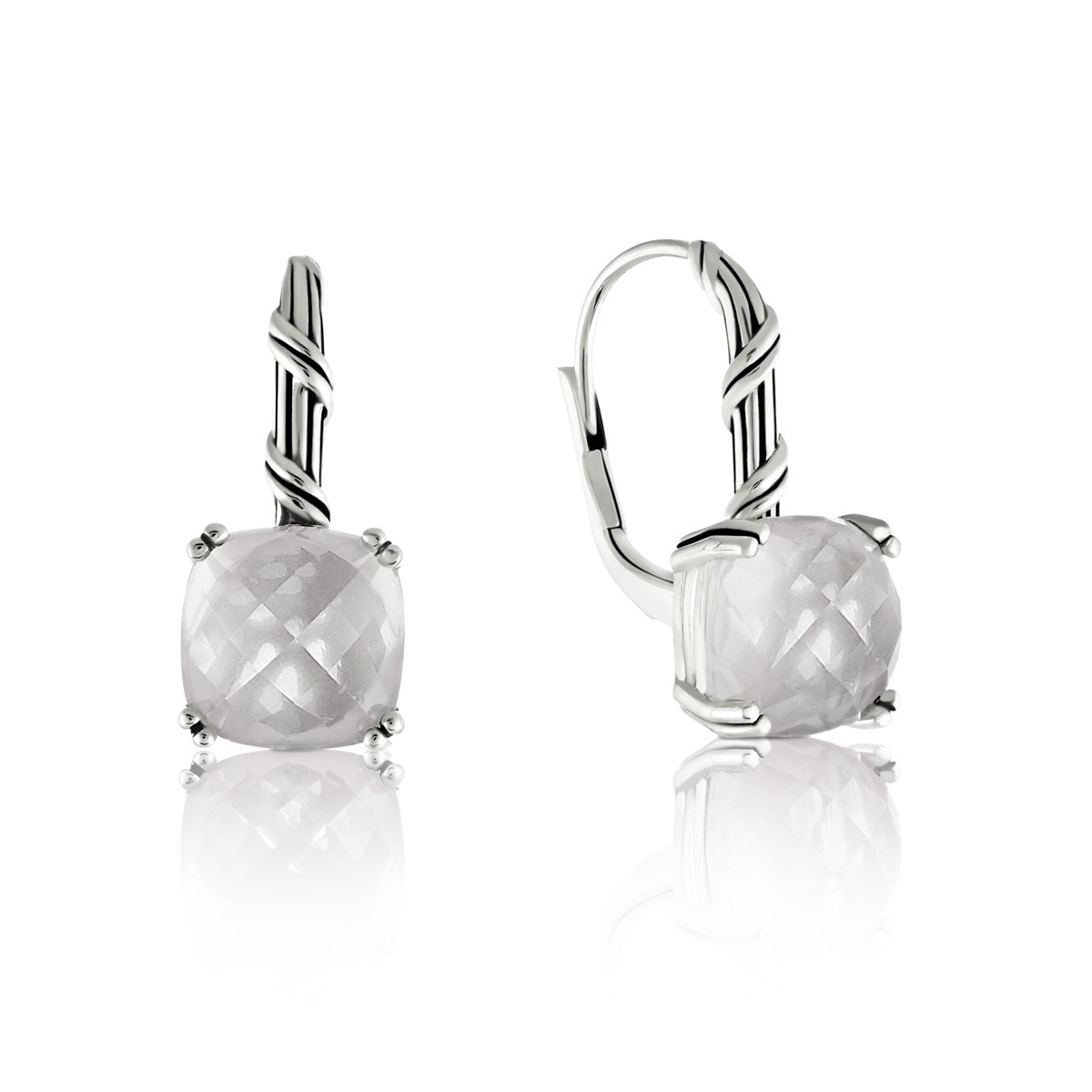 Peter Thomas Roth Ribbon And Reed Rock Crystal Drop Earrings In Sterling Silver