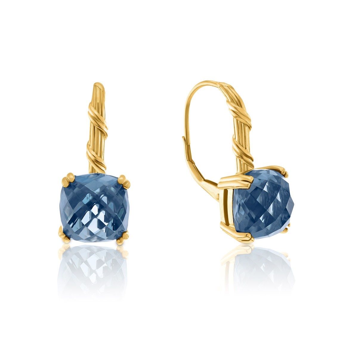 Peter Thomas Roth Ribbon And Reed London Blue Topaz Drop Earrings In 18k Yellow Gold