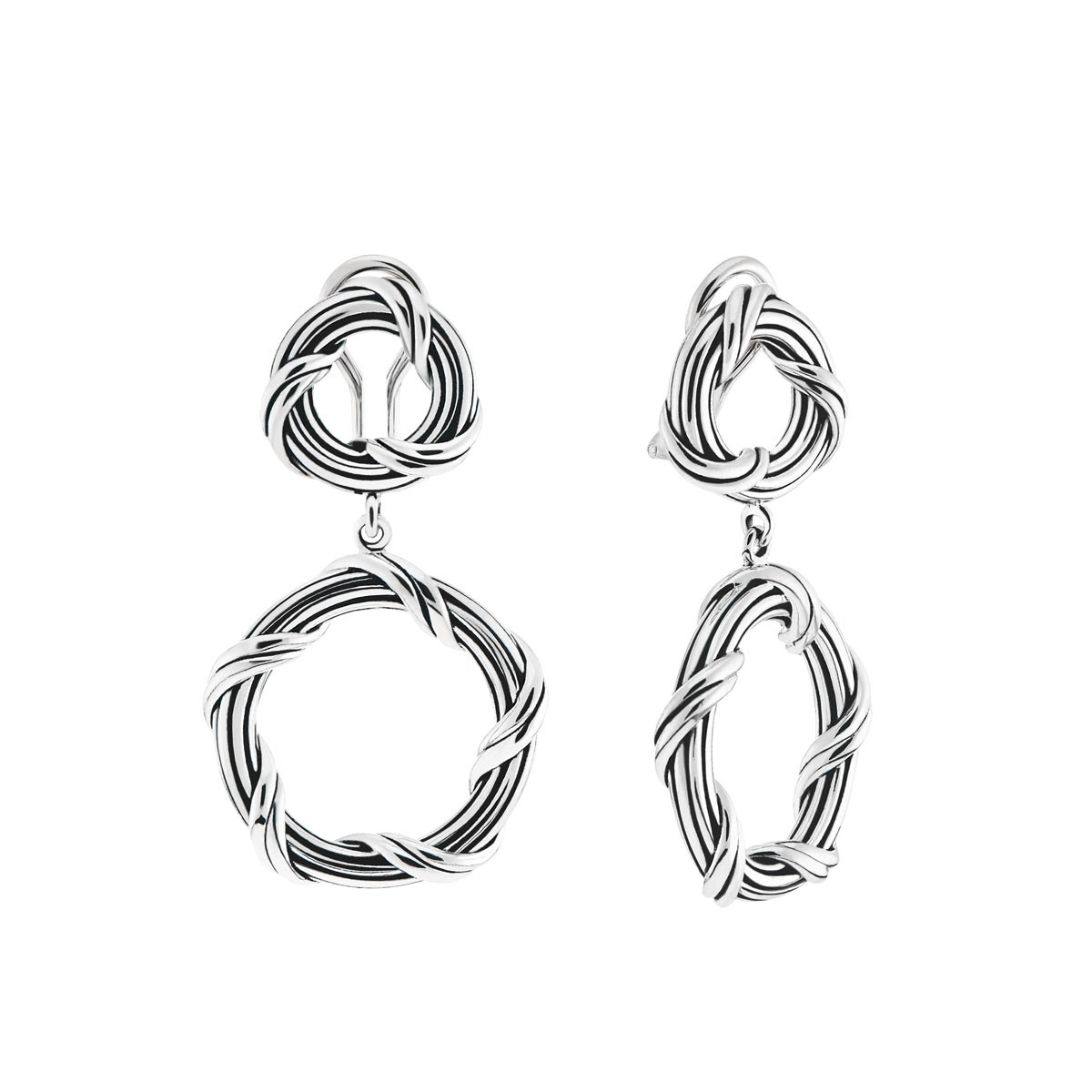 Peter Thomas Roth Ribbon And Reed Signature Clic Circle Clip Earrings In Sterling Silver