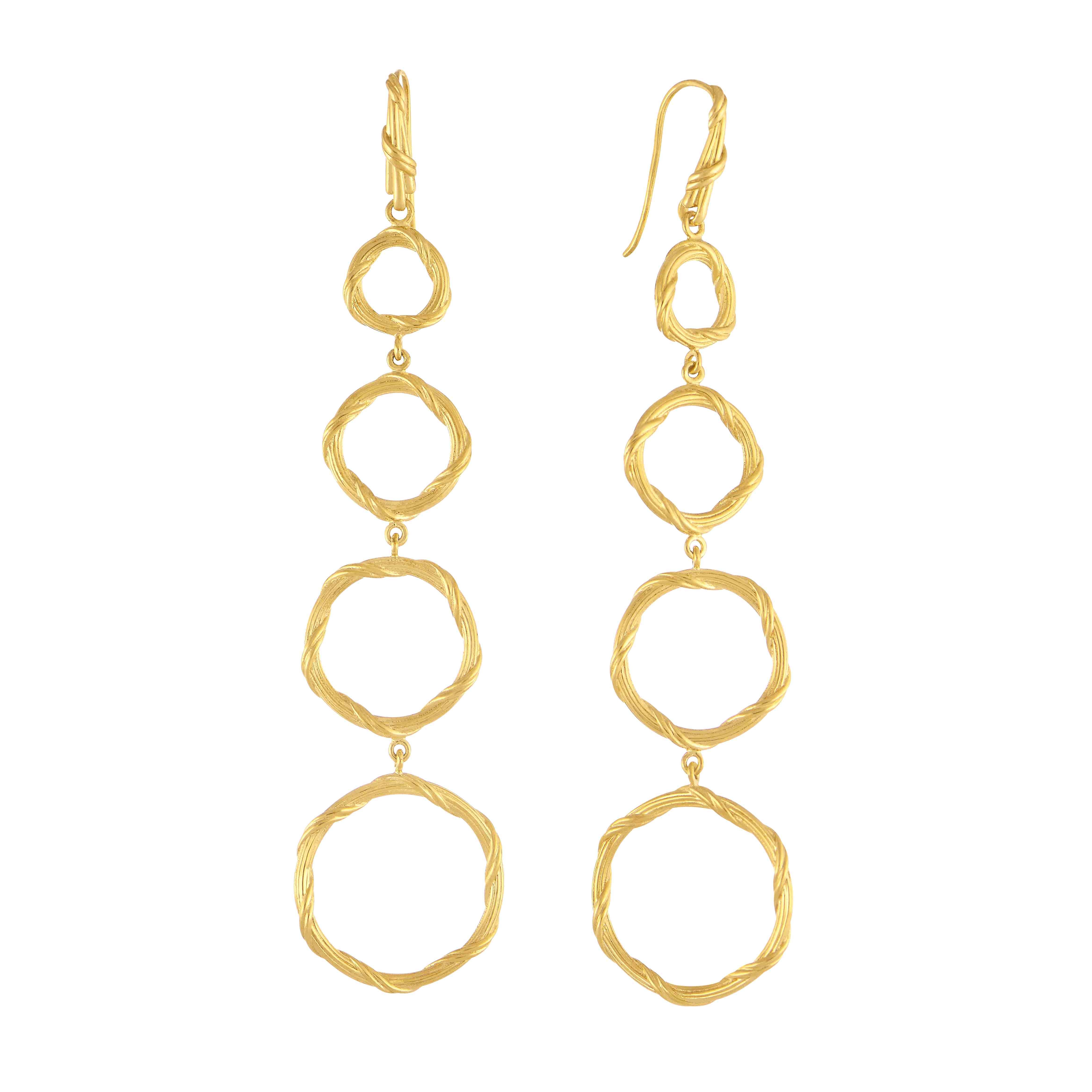 Heritage Circle Drop Earrings in 18K Yellow Gold