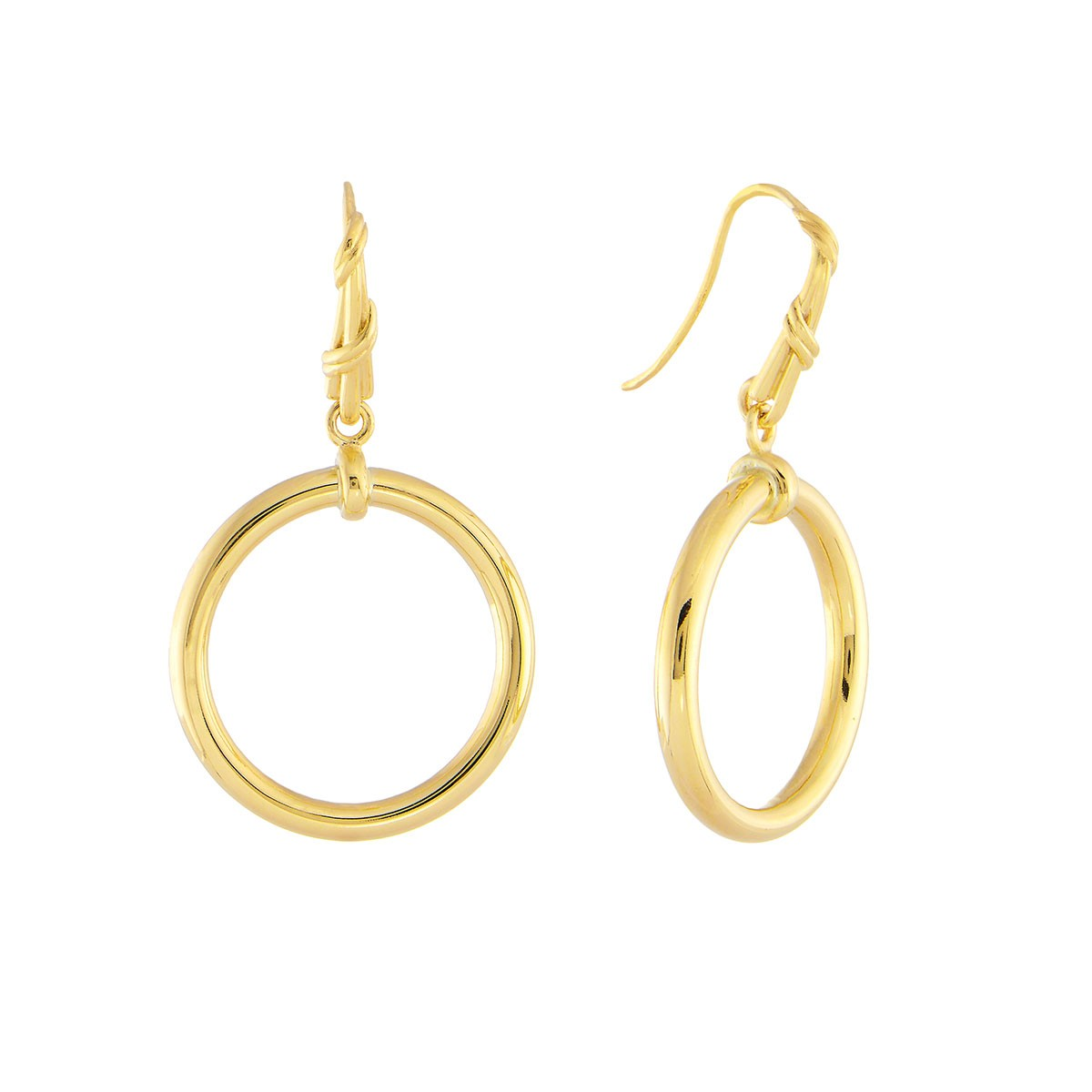 Heritage Mixed Link Circle Earrings in 18K yellow gold