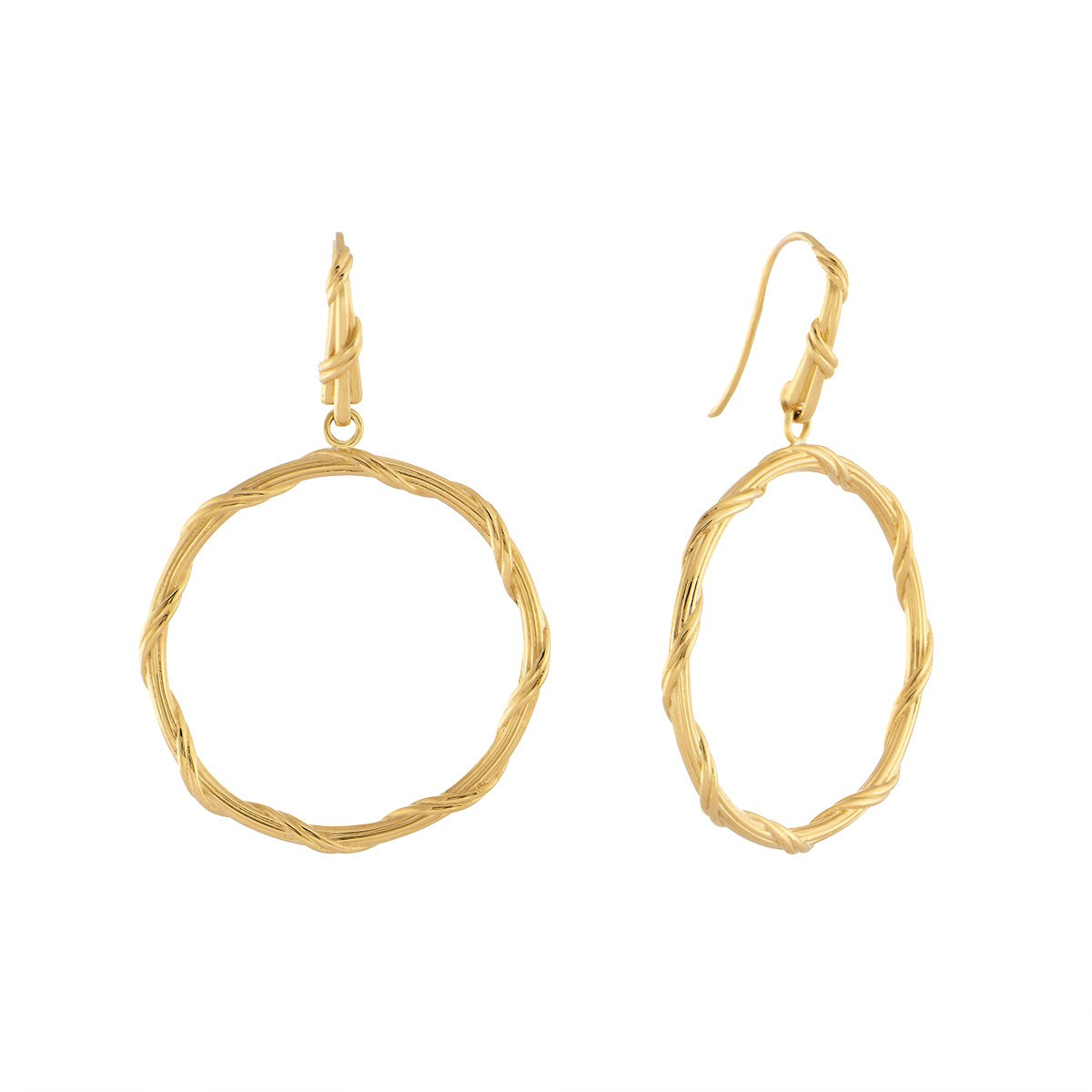 Heritage Circle Earrings in 18K yellow gold large