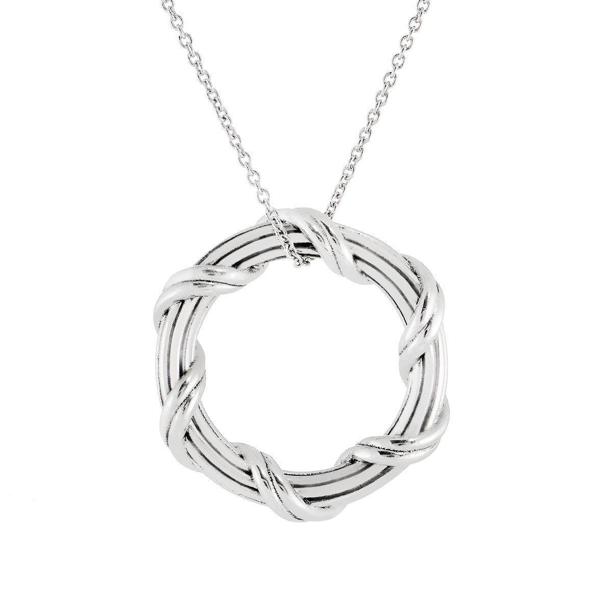 """Signature Classic Circle Pendant Necklace in sterling silver 1"""""""