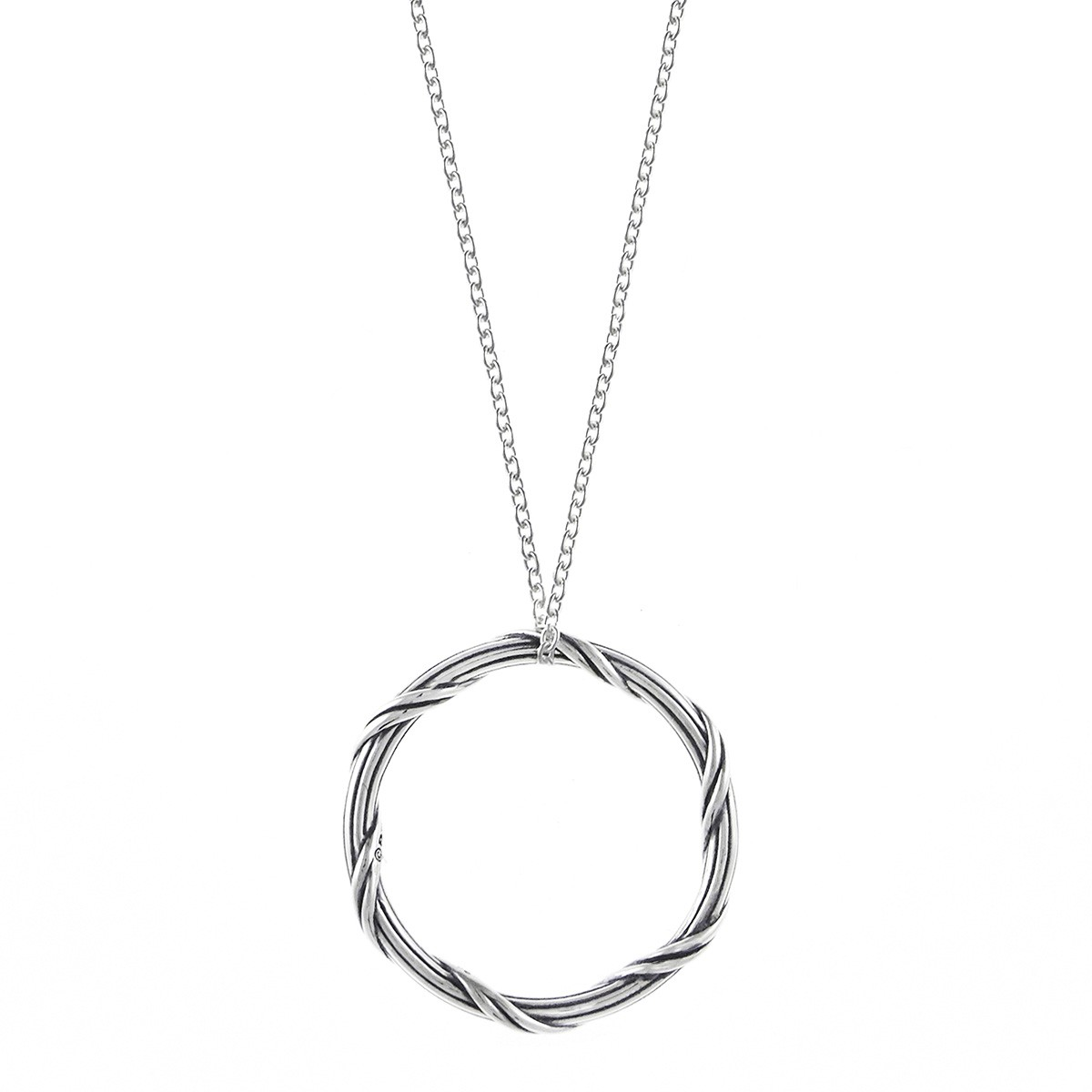 """Signature Romance Circle Necklace in sterling silver 1"""""""