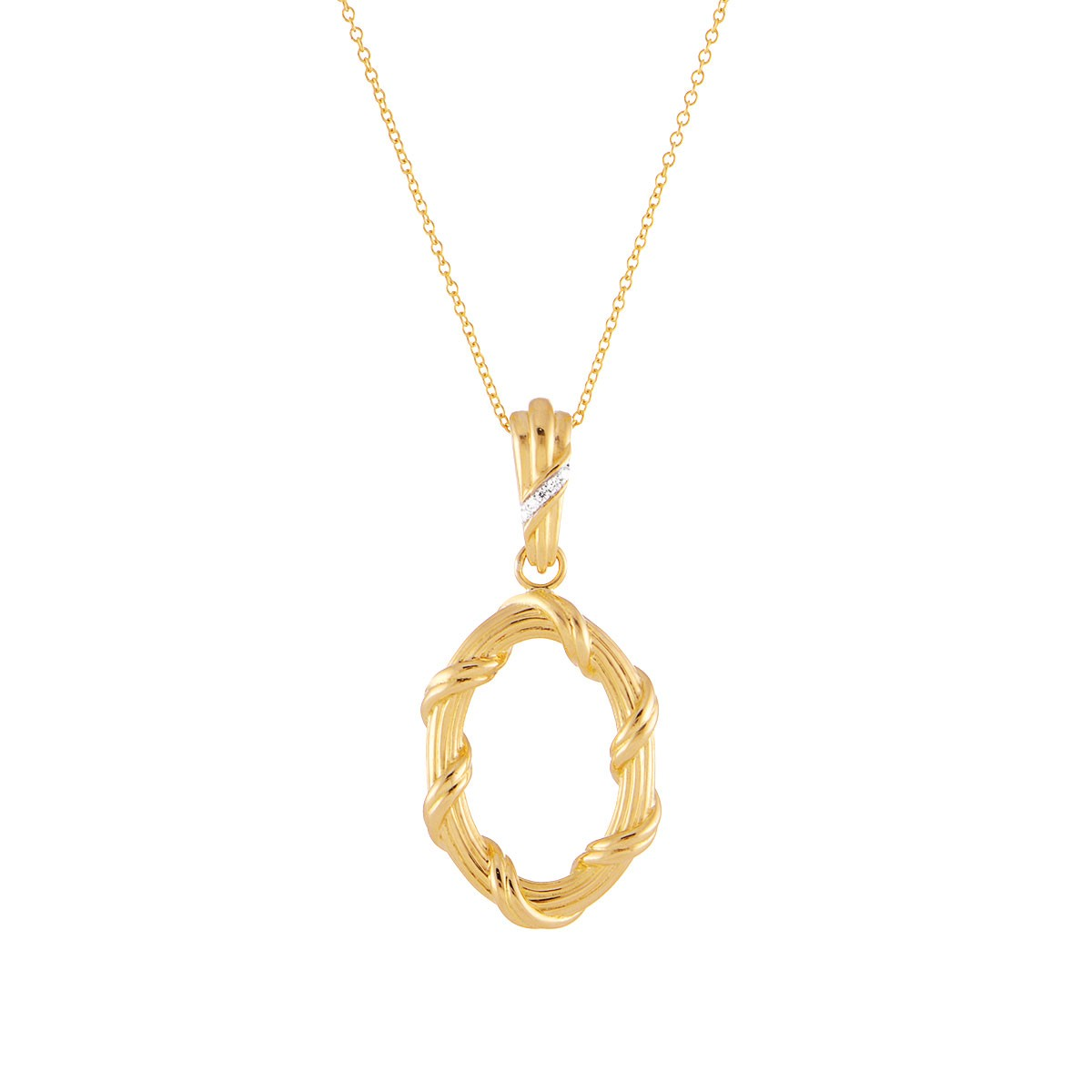 Heritage Diamond Oval Necklace in 18K yellow gold