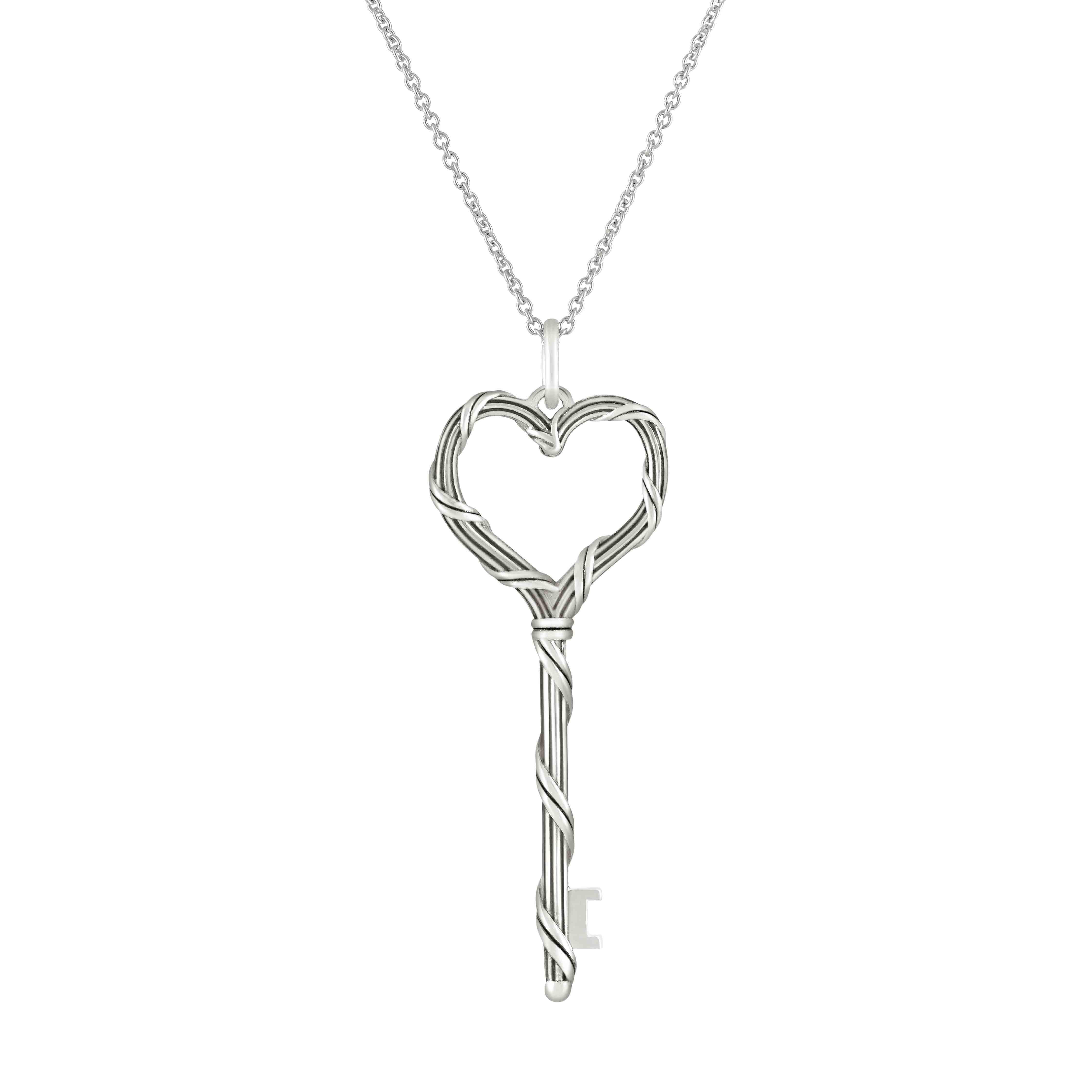 Signature Classic Heart Key Necklace in Sterling Silver