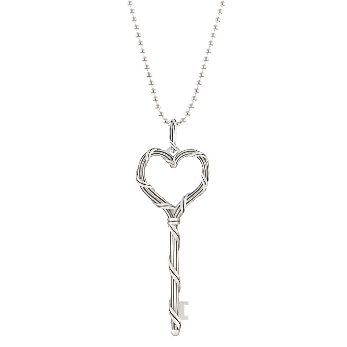 Signature Classic Heart Key Necklace on beaded chain in sterling silver