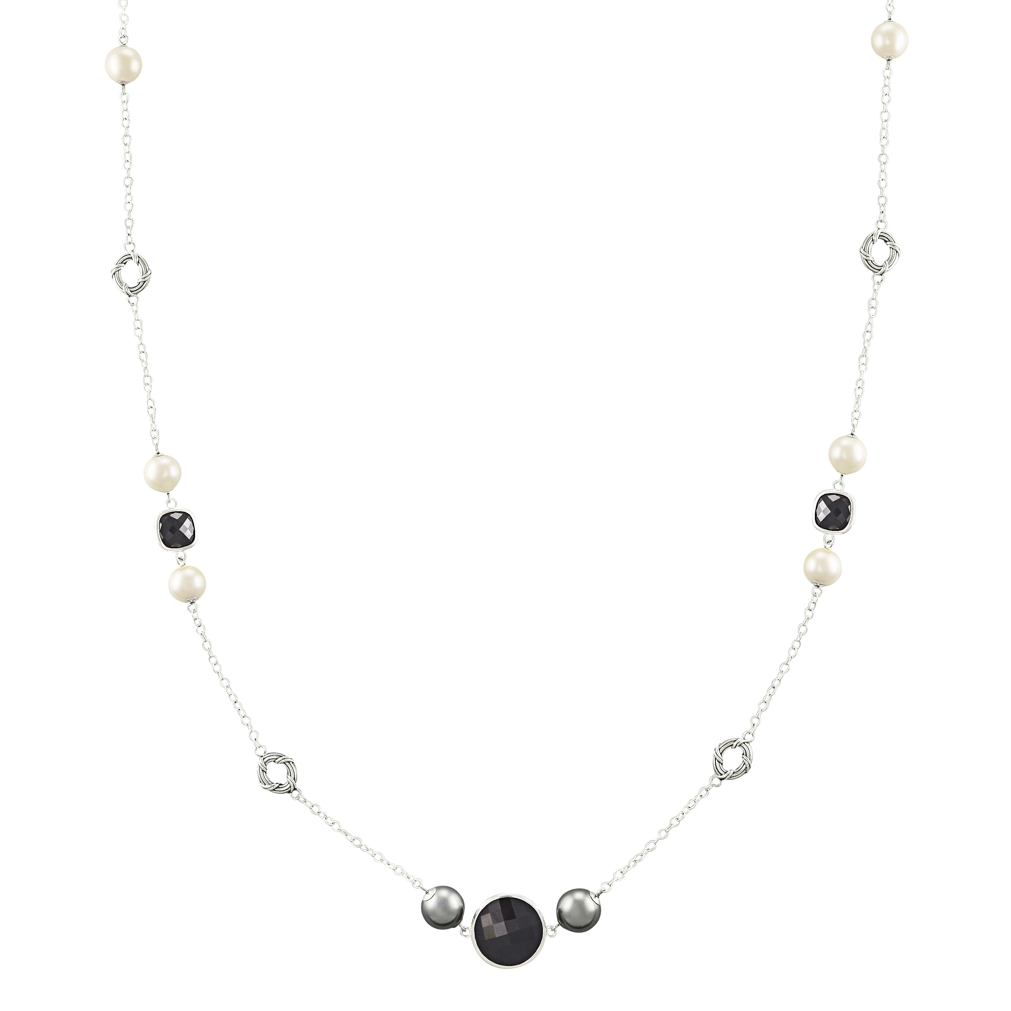 Long Shell Pearl and Black Onyx Station Necklace in sterling silver