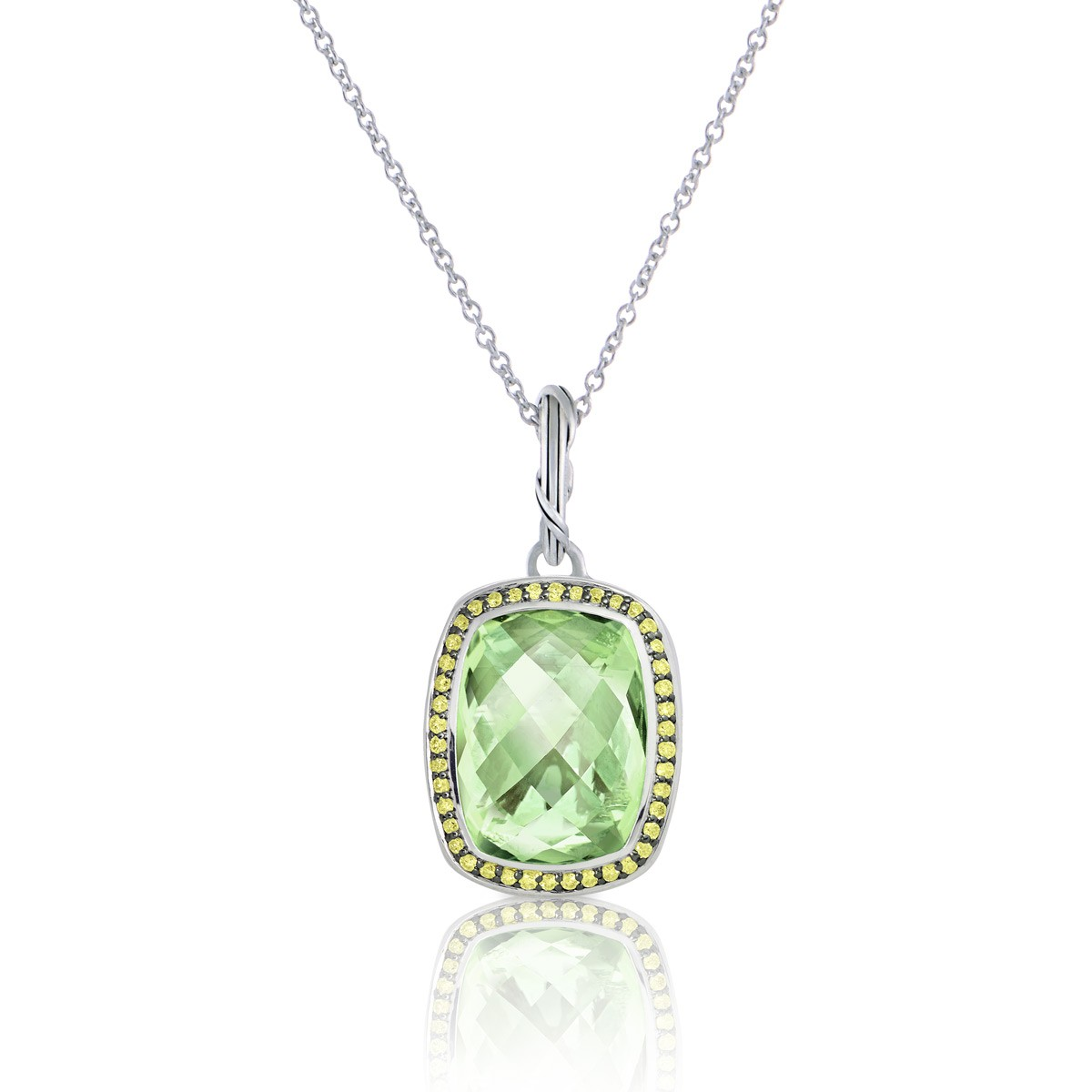 Fantasies Prasiolite Halo Pendant Necklace in sterling silver with yellow sapphires