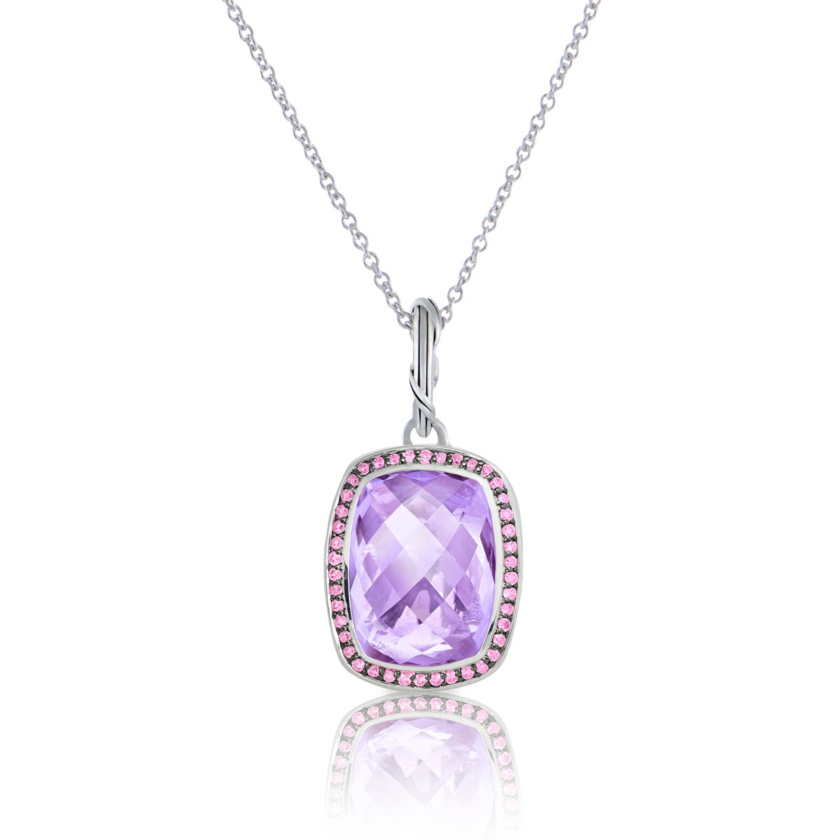 Fantasies Lavender Amethyst Halo Pendant Necklace in sterling silver with pink sapphires