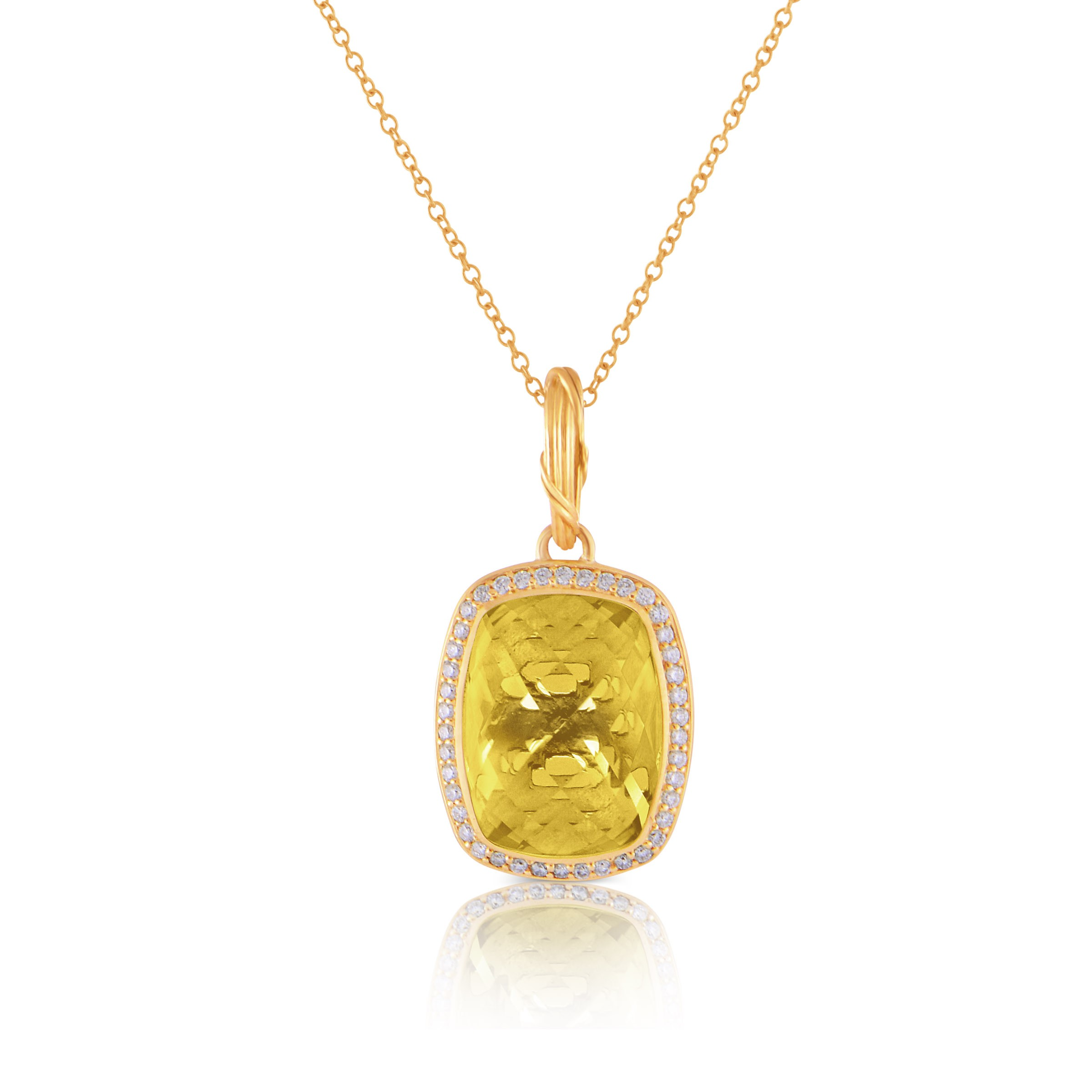 Fantasies Citrine Halo Pendant Necklace in diamonds and 18K Gold