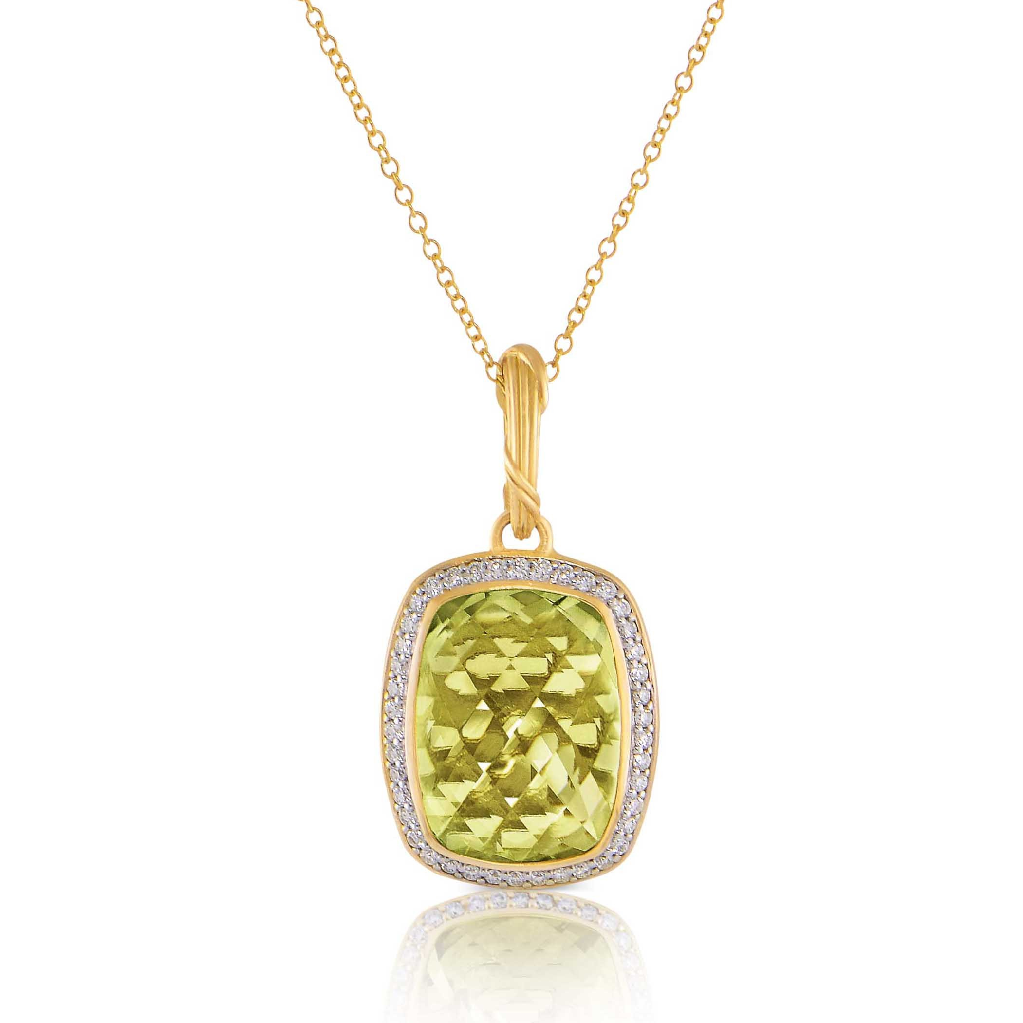 Fantasies Prasiolite Halo Pendant Necklace in diamonds and 18K Gold