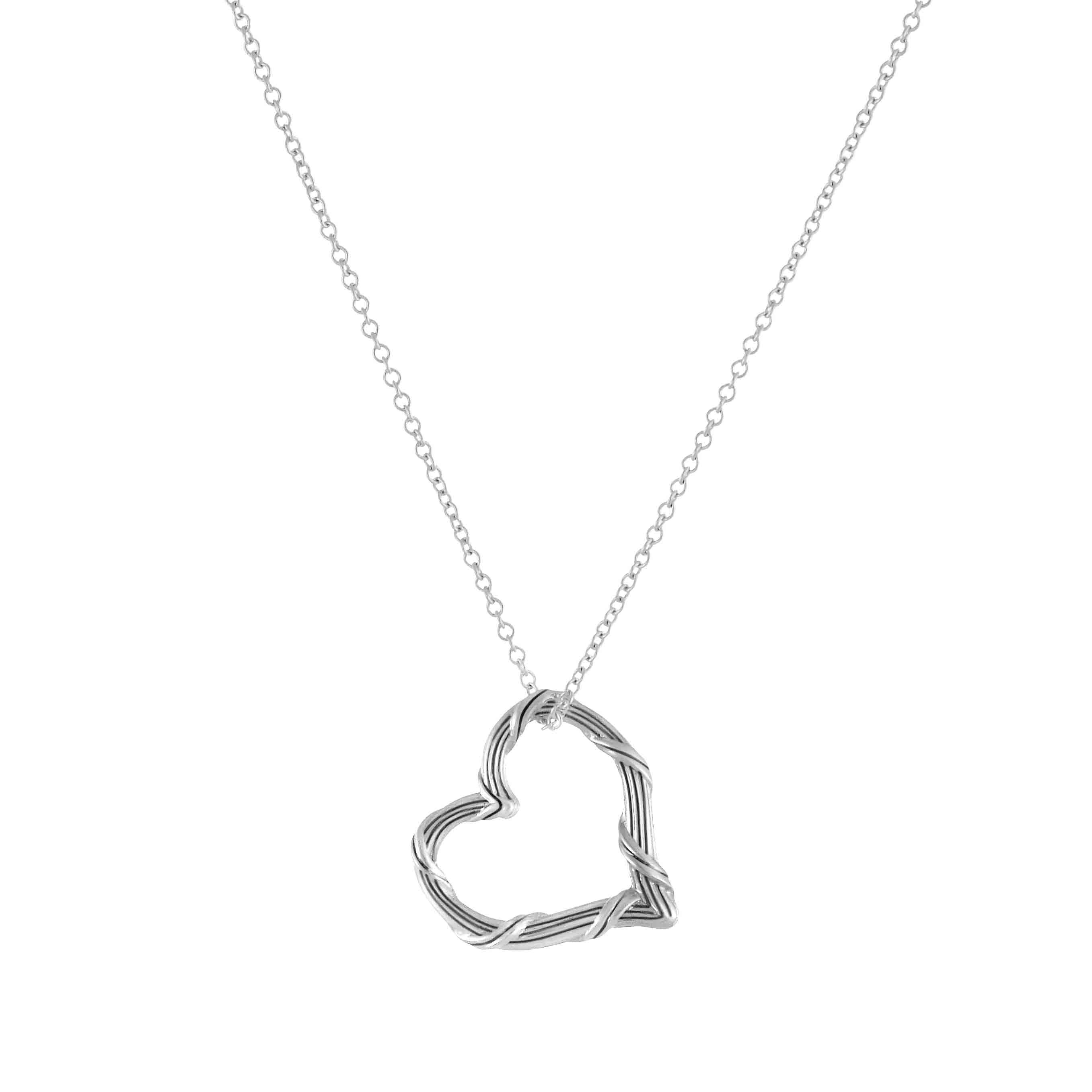 Signature Mini Floating Heart Necklace in Sterling Silver