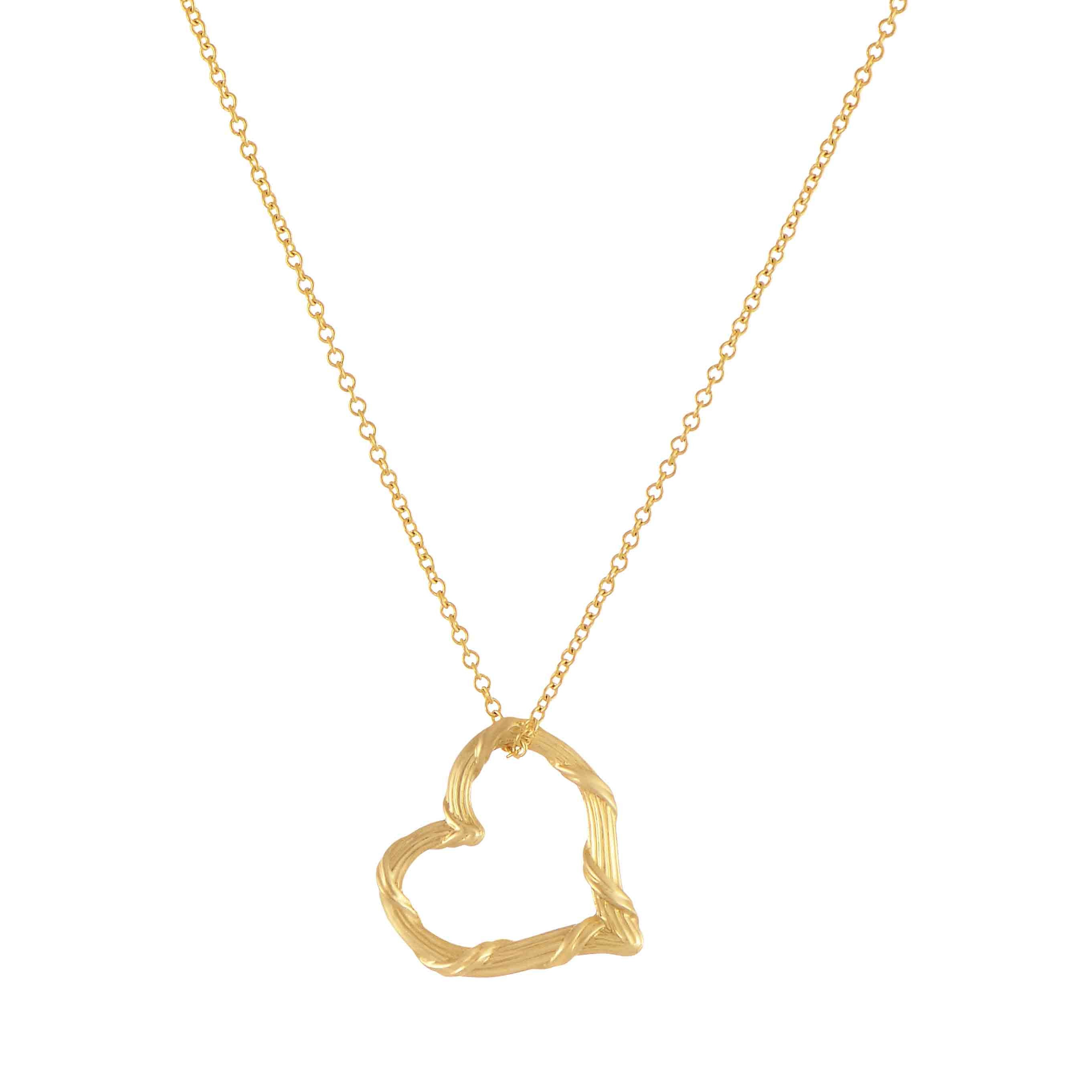"Heritage Mini Floating Heart Necklace in 18K Yellow Gold 16"" Chain"