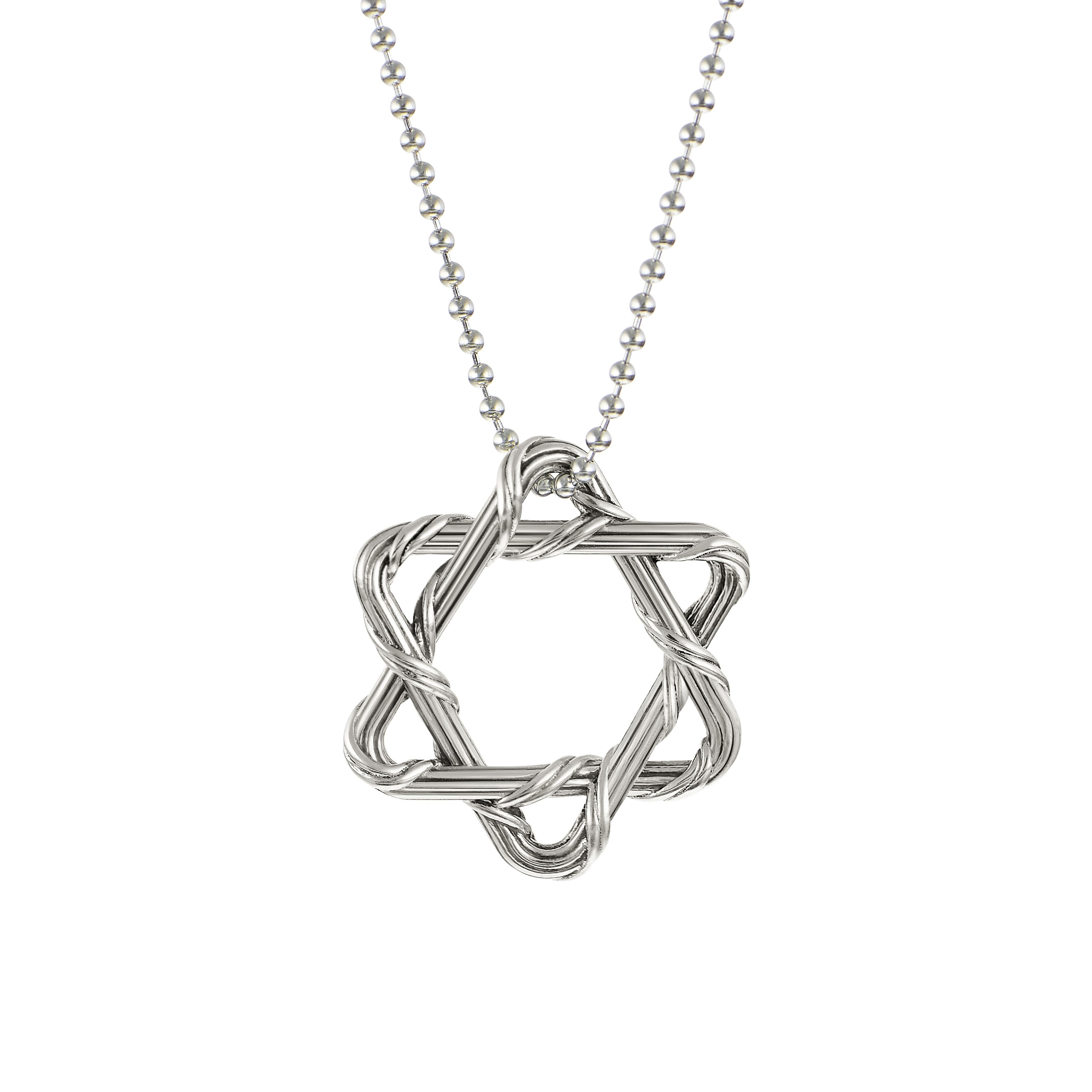 Signature Star of David Necklace on beaded chain in sterling silver