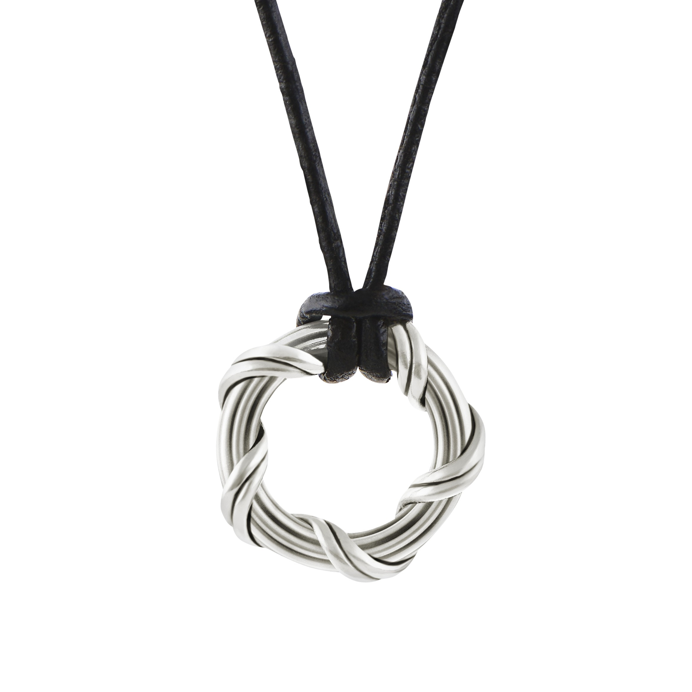 """Explorer Circle Necklace in sterling silver and leather 1"""""""