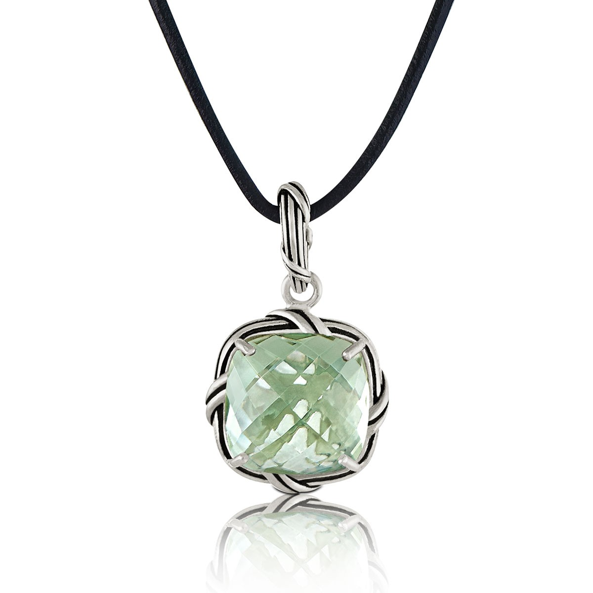 Fantasies Prasiolite Necklace in sterling silver and leather
