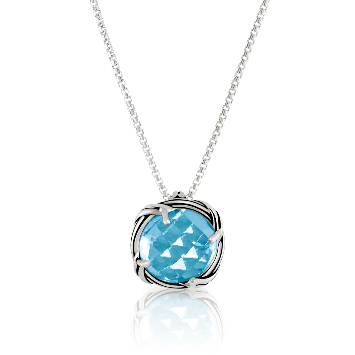 Fantasies Blue Topaz Necklace in sterling silver 10mm