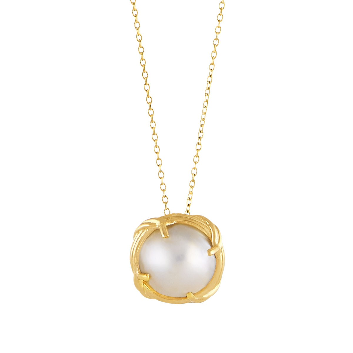 """Heritage Mabe Pearl Pendant Necklace in 18K yellow gold 18"""""""