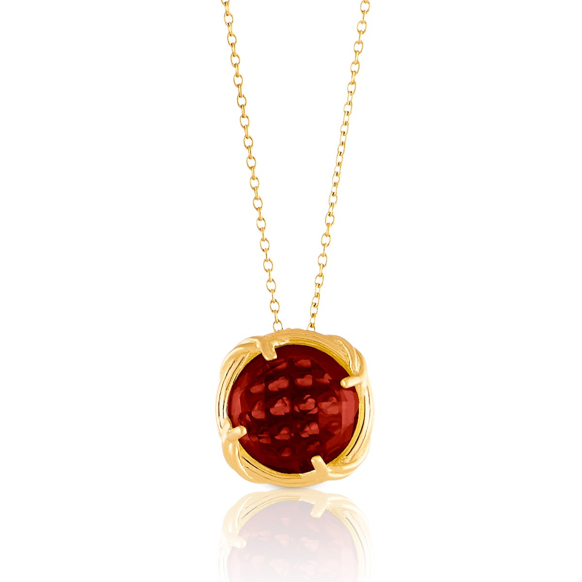 Fantasies Garnet Necklace in 18K yellow gold