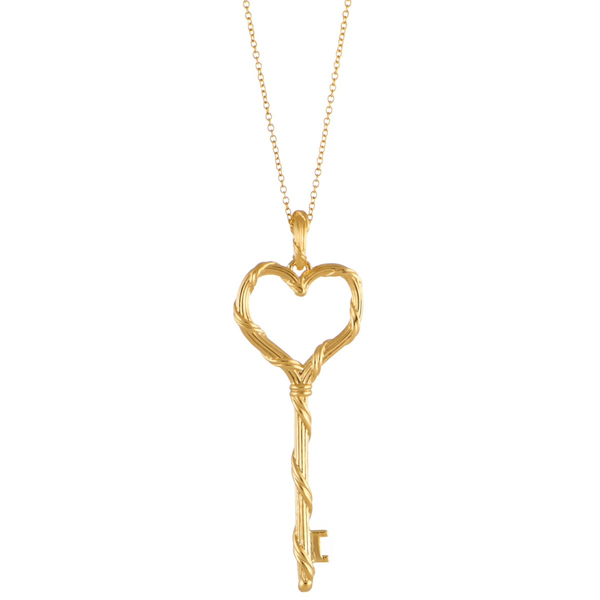1ea5cf719231b4 Peter Thomas Roth Ribbon and Reed Heritage Heart Key Necklace in 18K Yellow  Gold