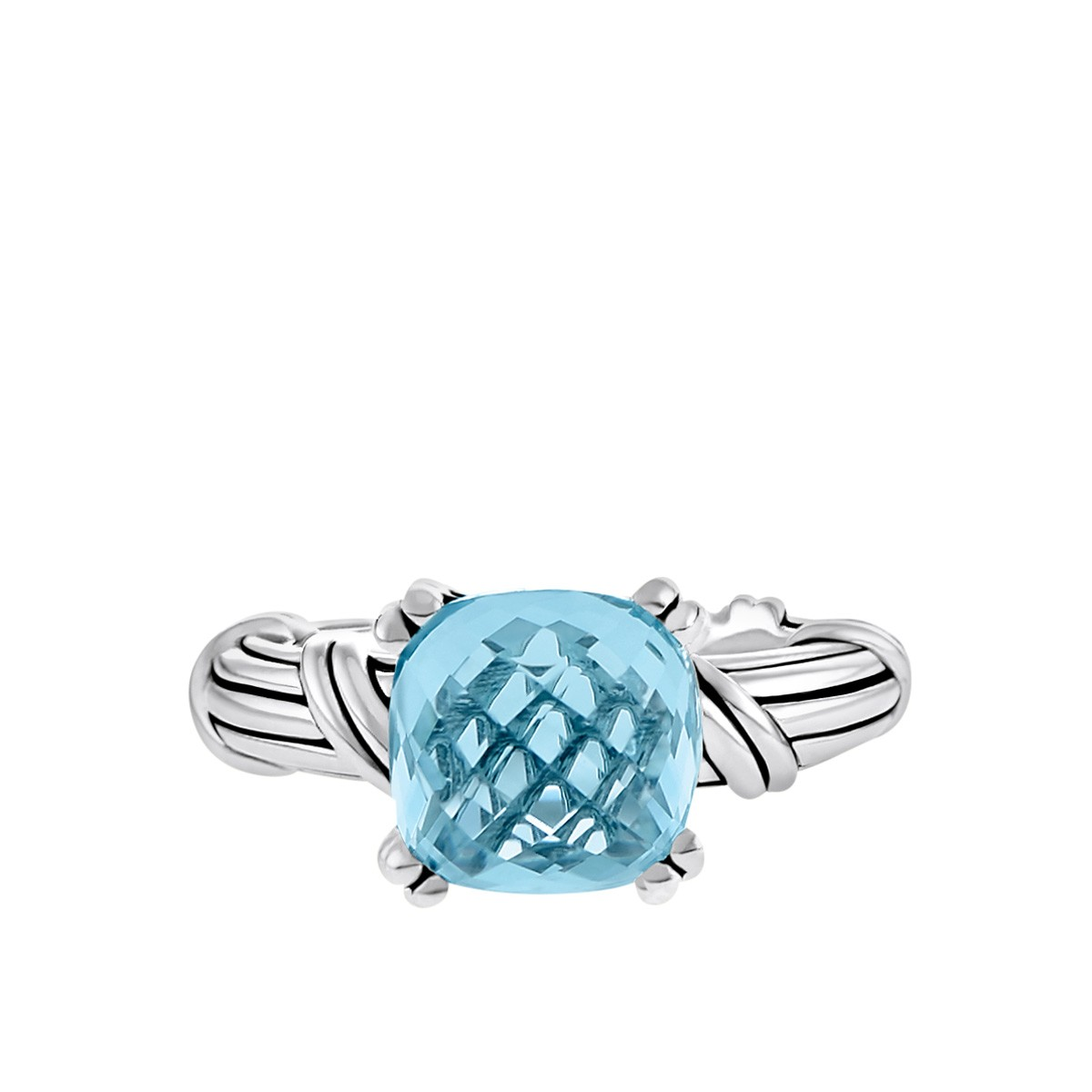 Fantasies Blue Topaz Cocktail Ring in sterling silver 10mm