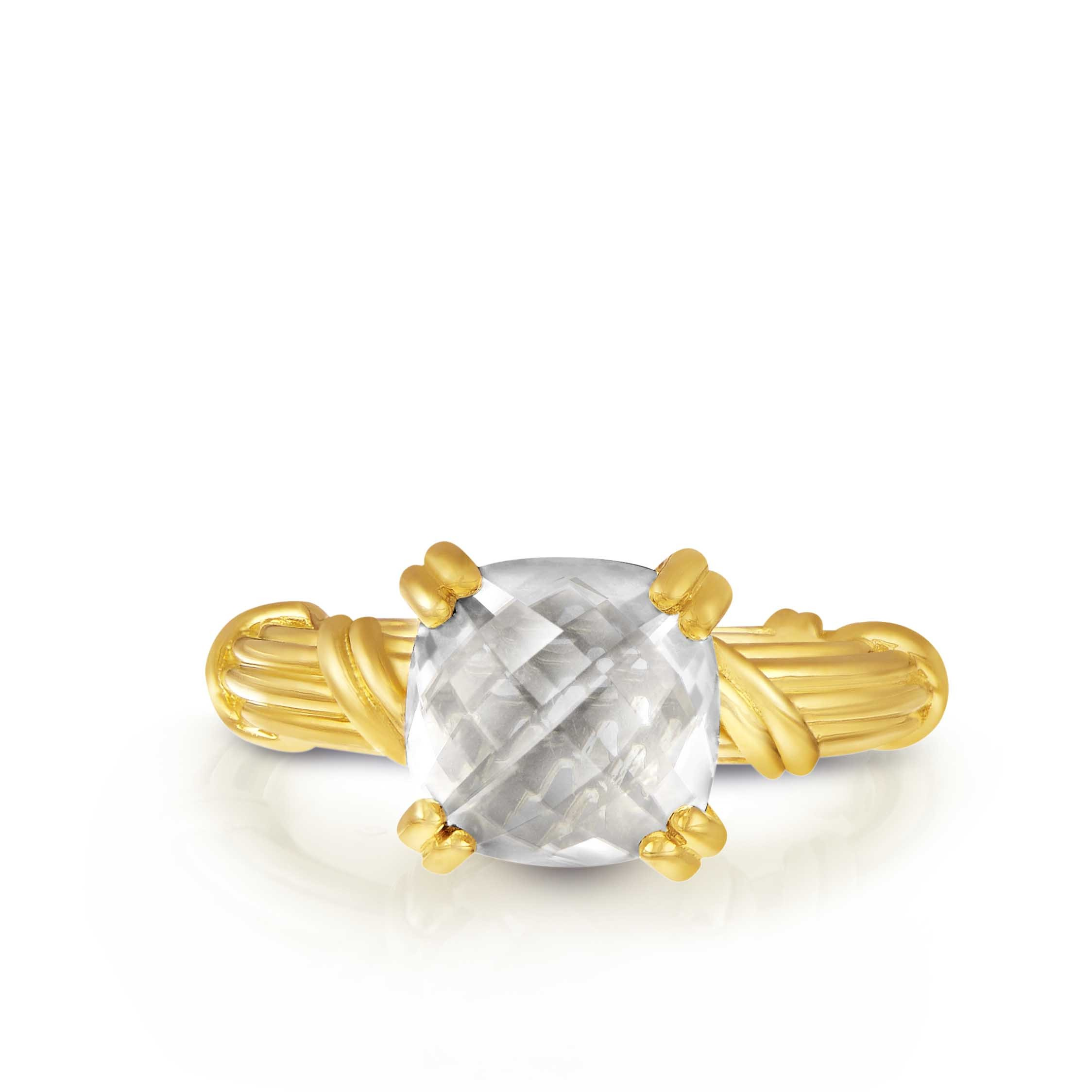 Fantasies Rock Crystal Cocktail Ring in 18K yellow gold